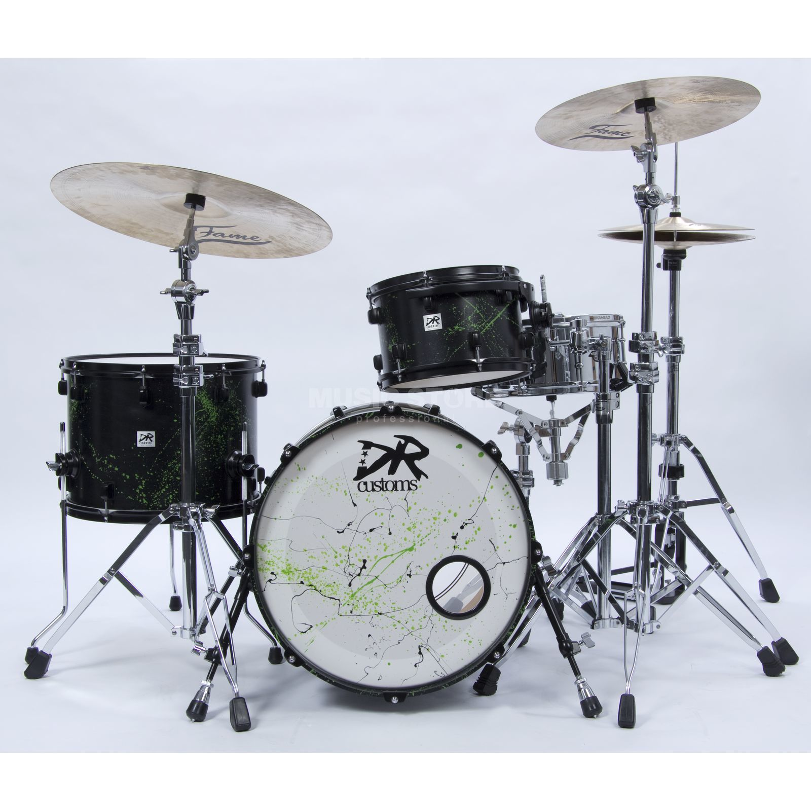 DR Customs Splatter ShellSet, #Black Satin, Green Splatter Product Image