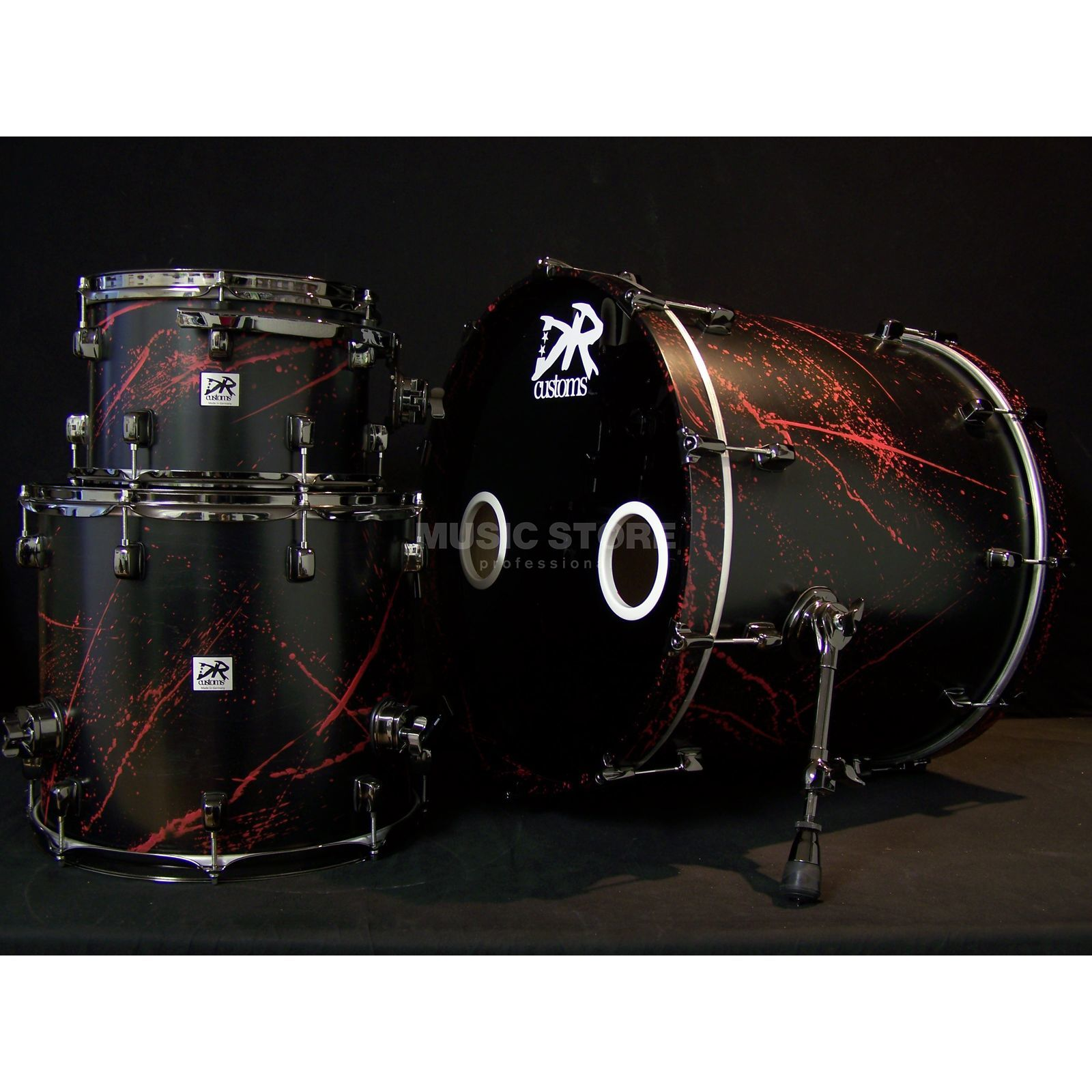 DR Customs Splatter ShellSet, #Black Satin, Telemagenta Spl. Produktbillede