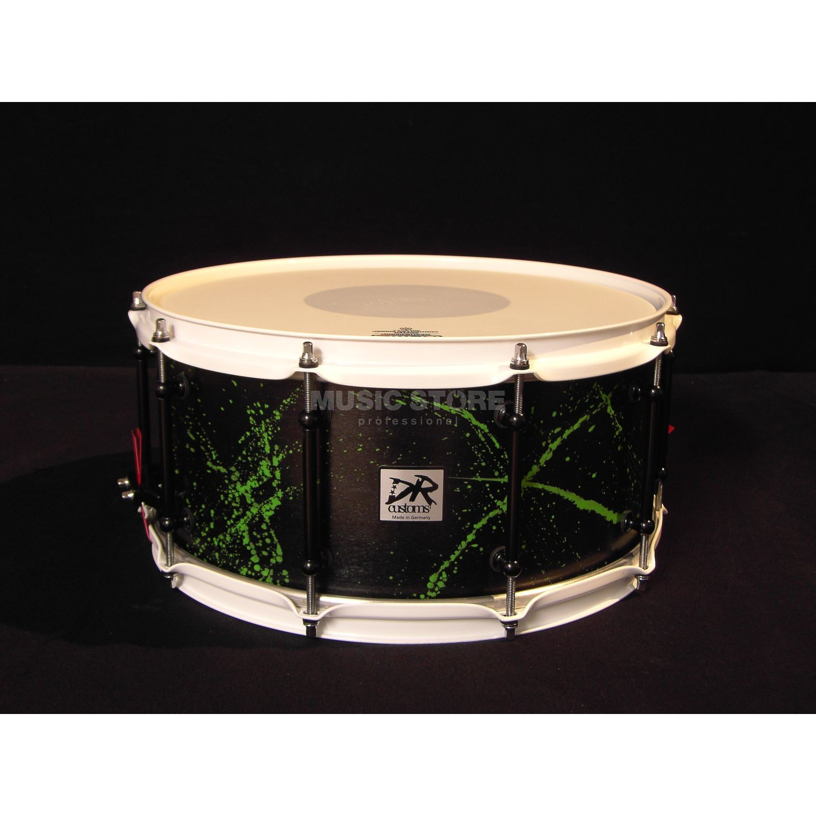 "DR Customs Splatter Snare 14""x6.5"", #Black Satin, Green Splatter Produktbillede"