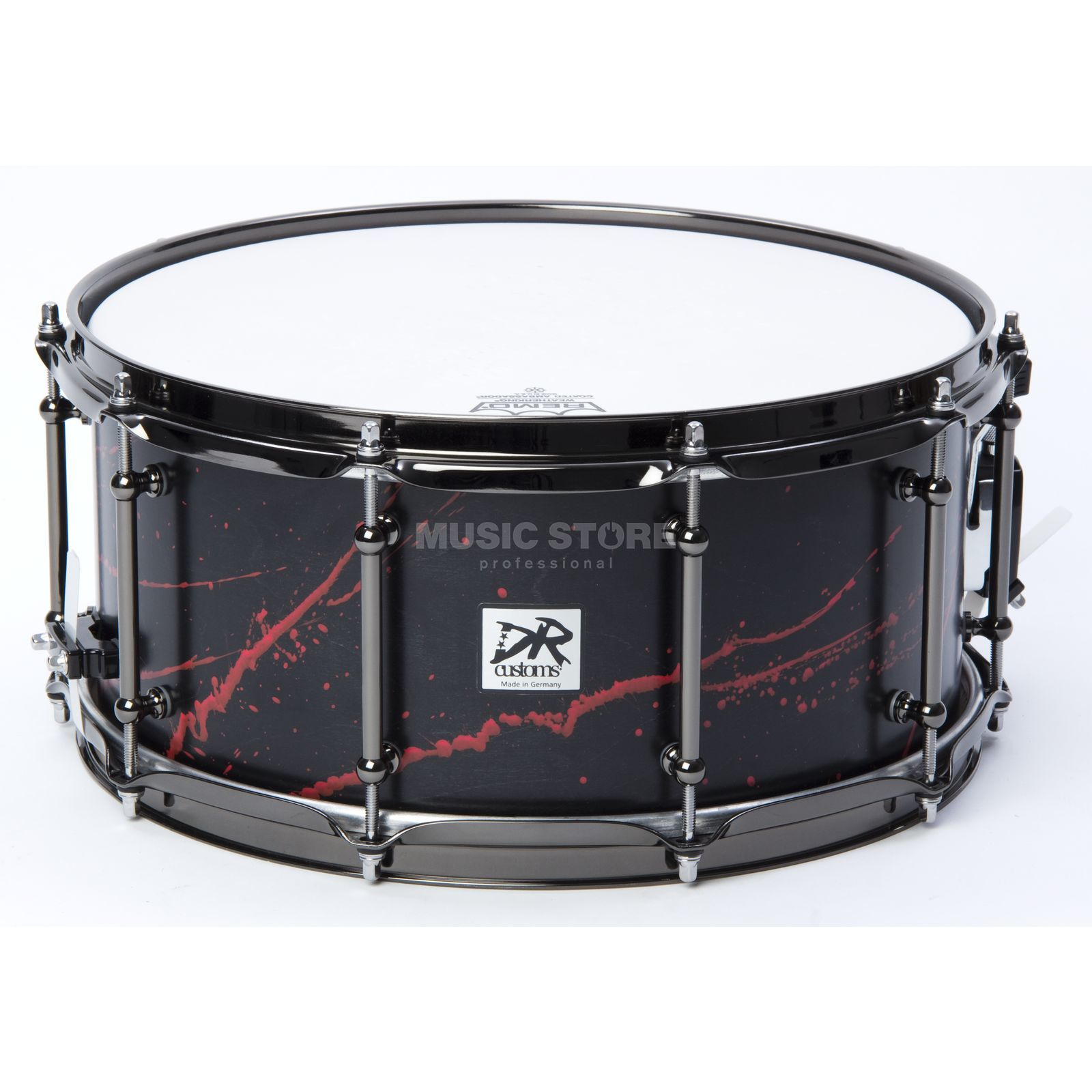 "DR Customs Splatter Snare 14""x6,5"", #Black Satin, Telemagenta Spl. Produktbild"