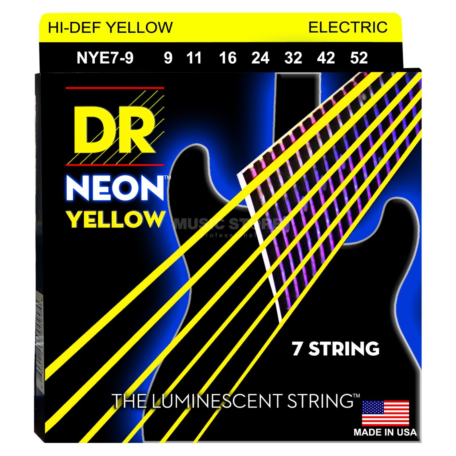 DR NYE7-9 9-52 HiDef Neon Yellow 7-String Produktbillede