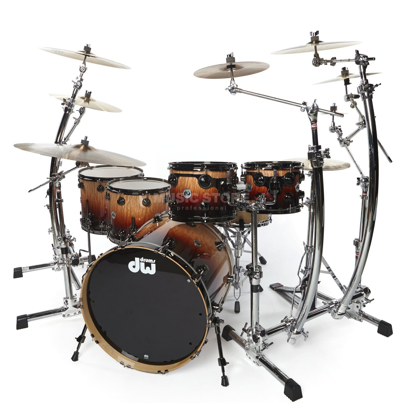 Drum Workshop Collector's Exotic ShellSet, Natural Tobacco Fade over Quilted Maple, Overstock Product Image