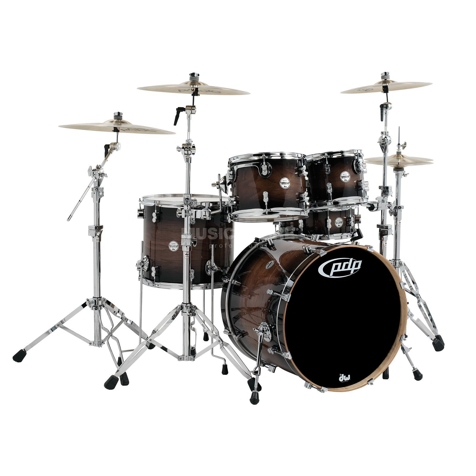 Drum Workshop PDP Concept Exotic ShellSet, Walnut Charcoal Burst Product Image