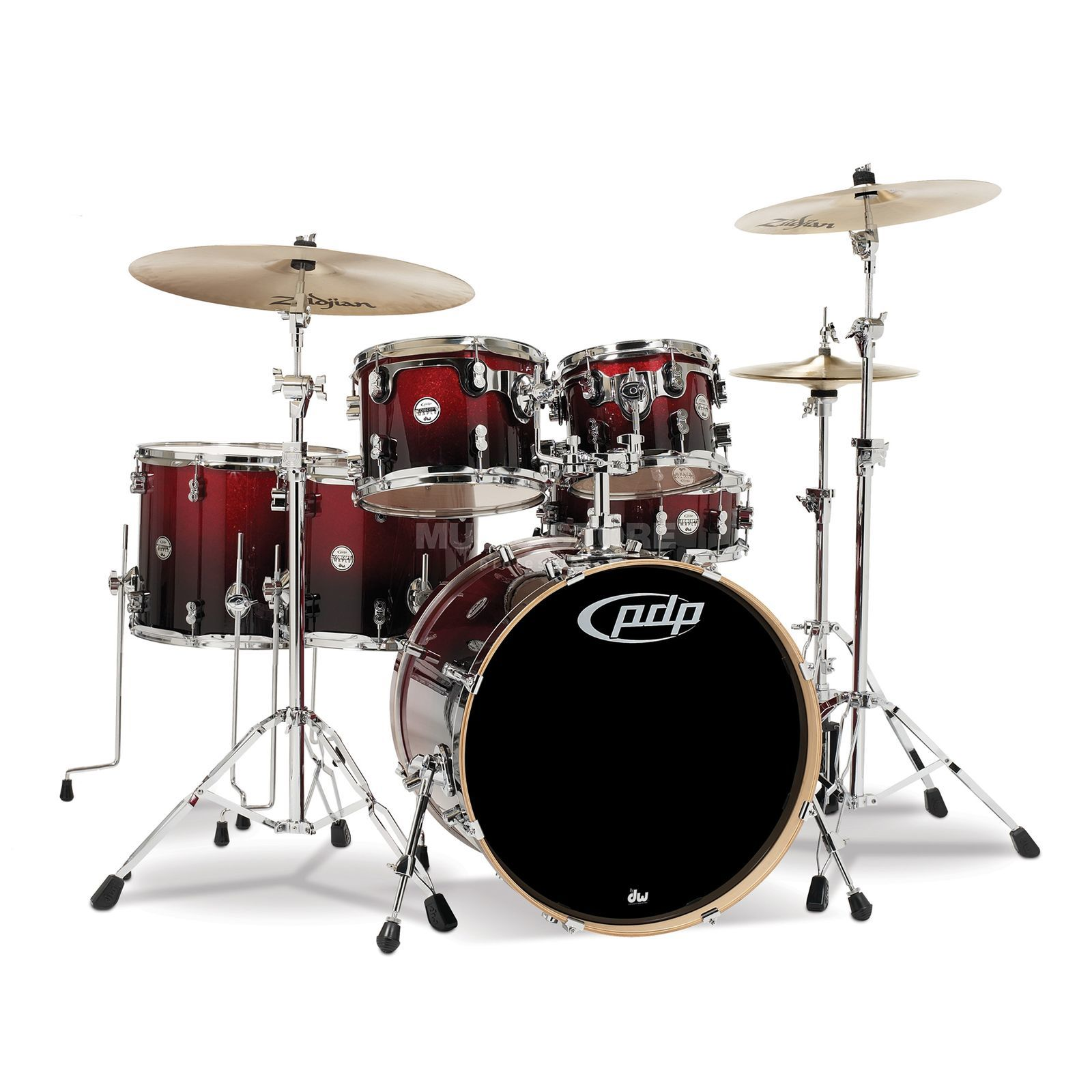 Drum Workshop PDP Concept Maple CM6, Red to Black Fade Produktbillede