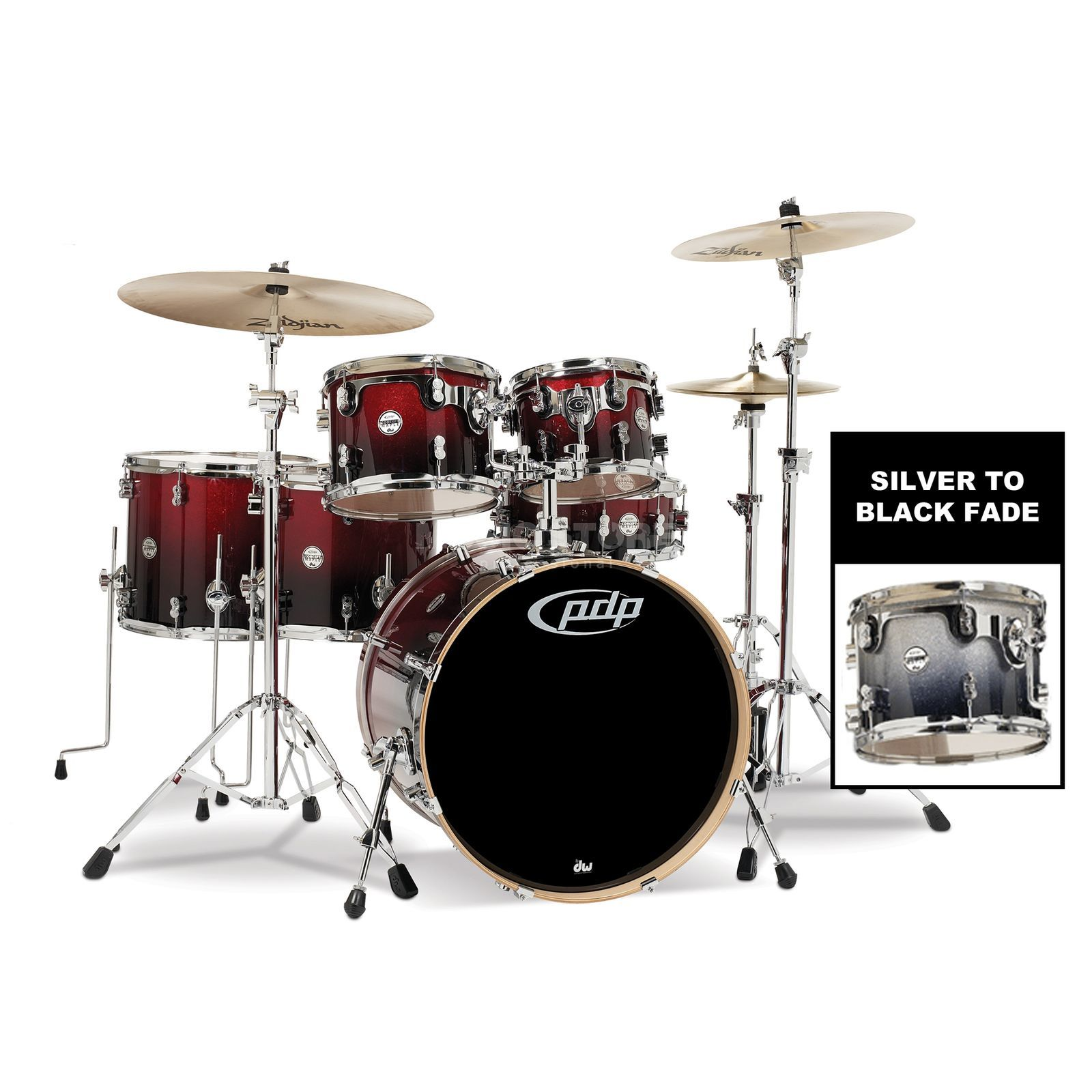 Drum Workshop PDP Concept Maple CM6, Silver to Black Fade Produktbillede