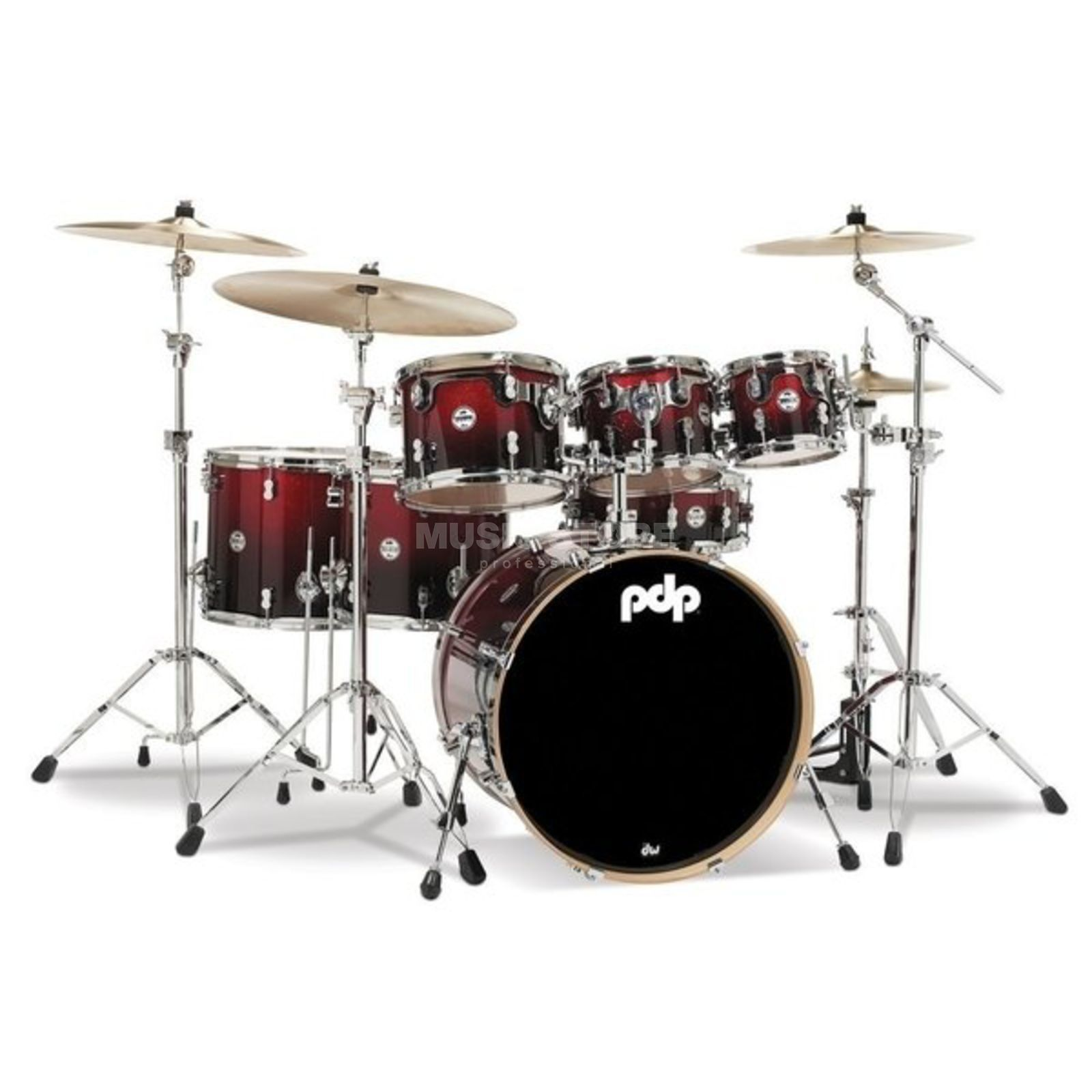 Drum Workshop PDP Concept Maple CM7, Red to Black Fade Produktbillede