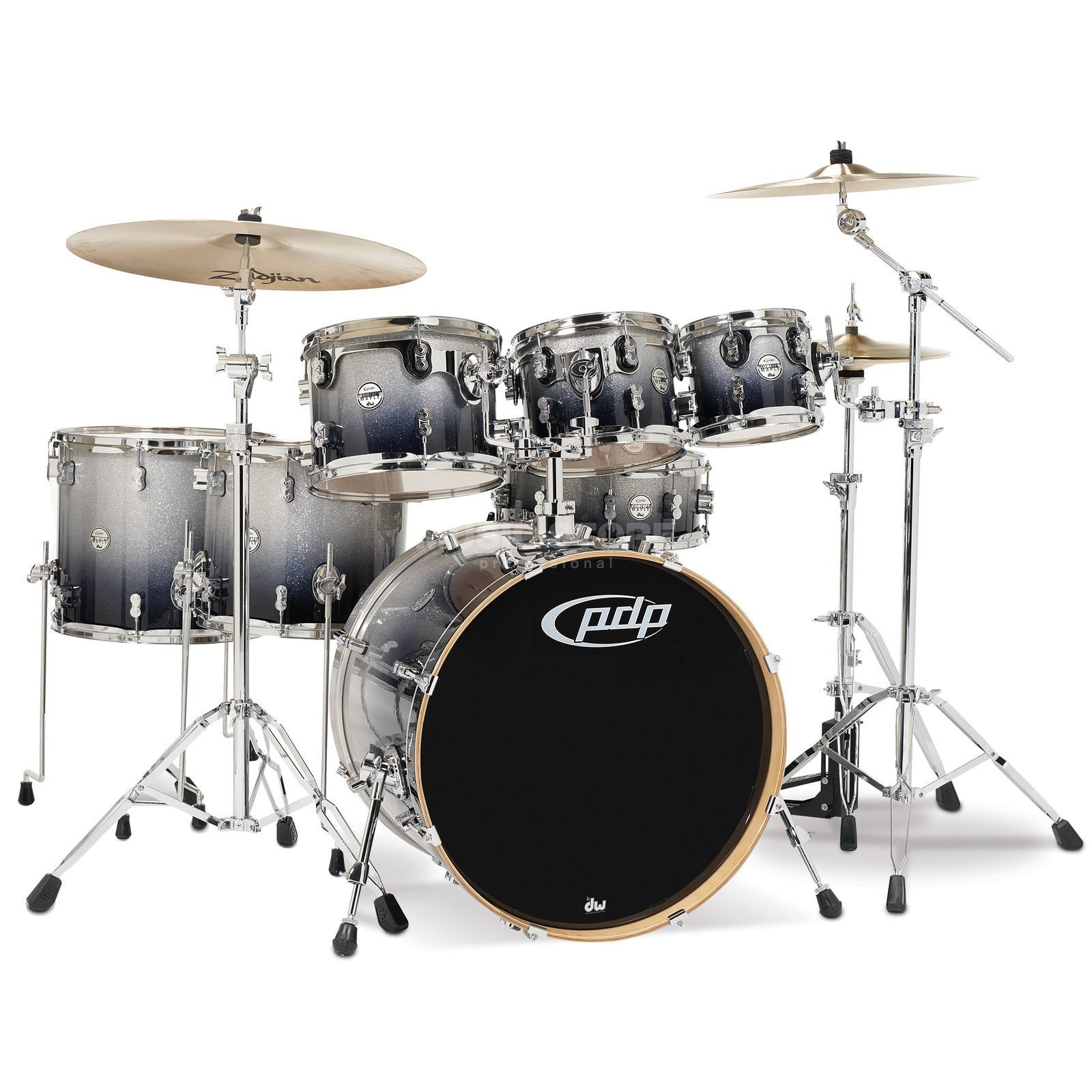 Drum Workshop PDP Concept Maple CM7, Silver to Black Fade Produktbillede