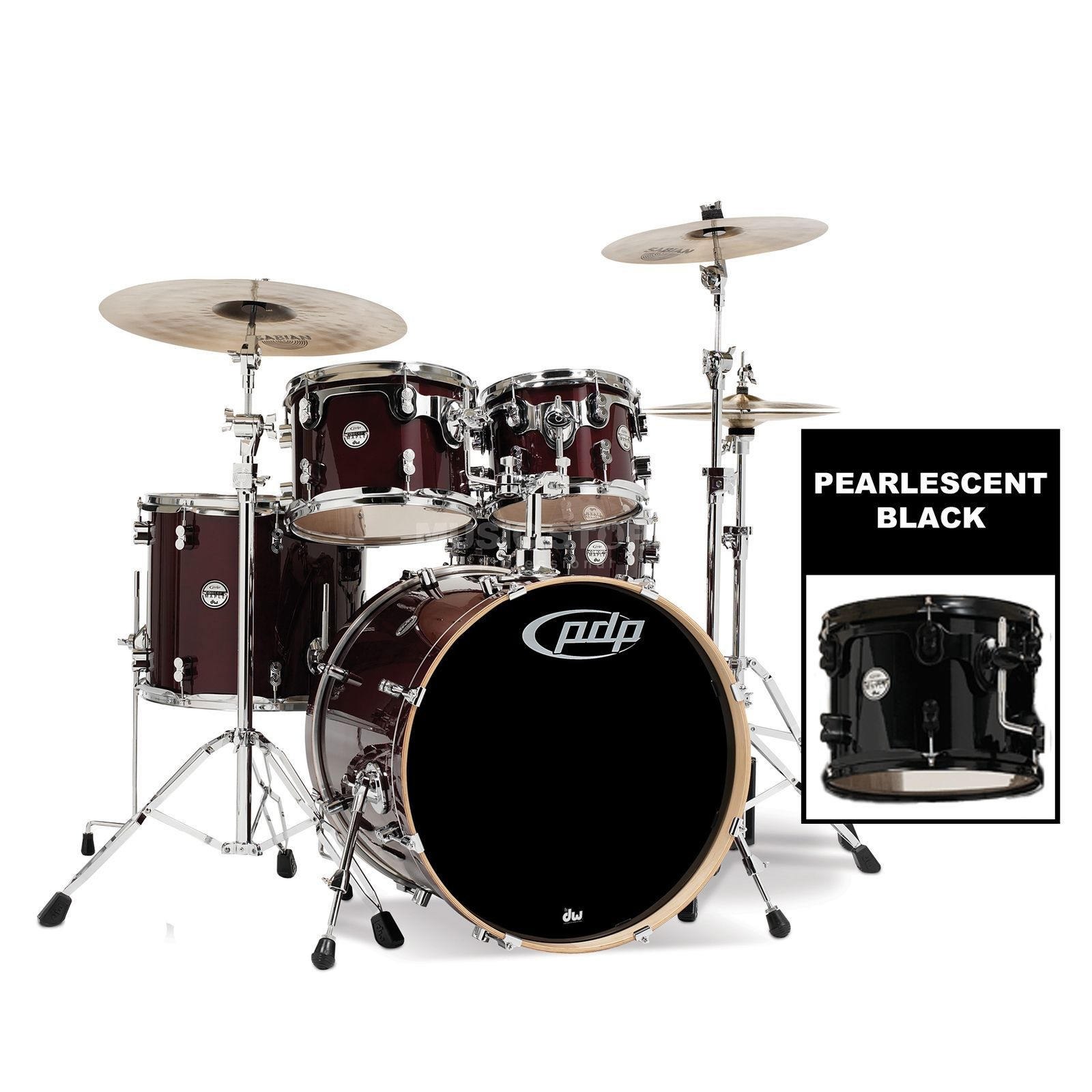 Drum Workshop PDP Concept Maple Studio CM5, Pearlescent Black Produktbillede