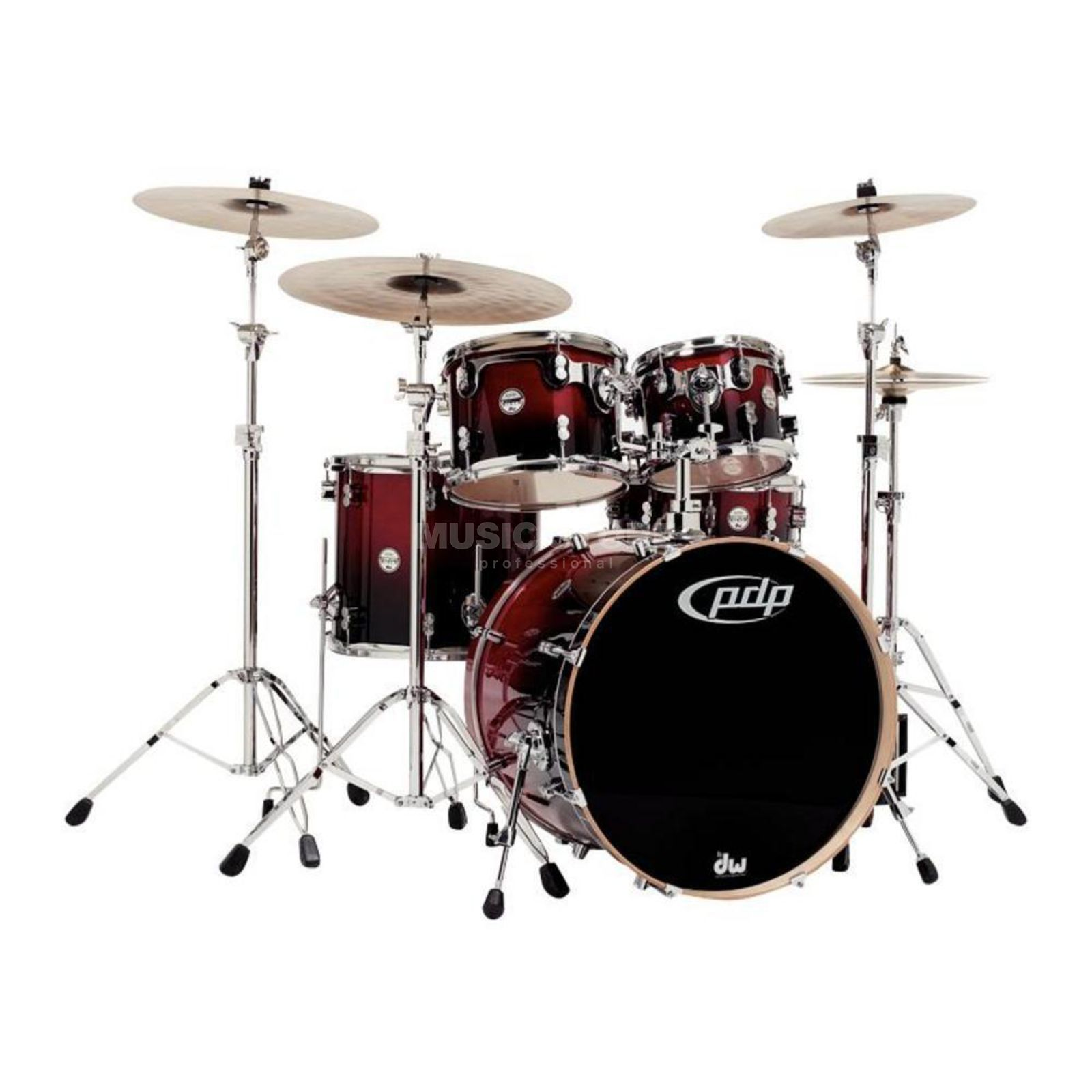 Drum Workshop PDP Concept Maple Studio CM5, Red to Black Fade Produktbild