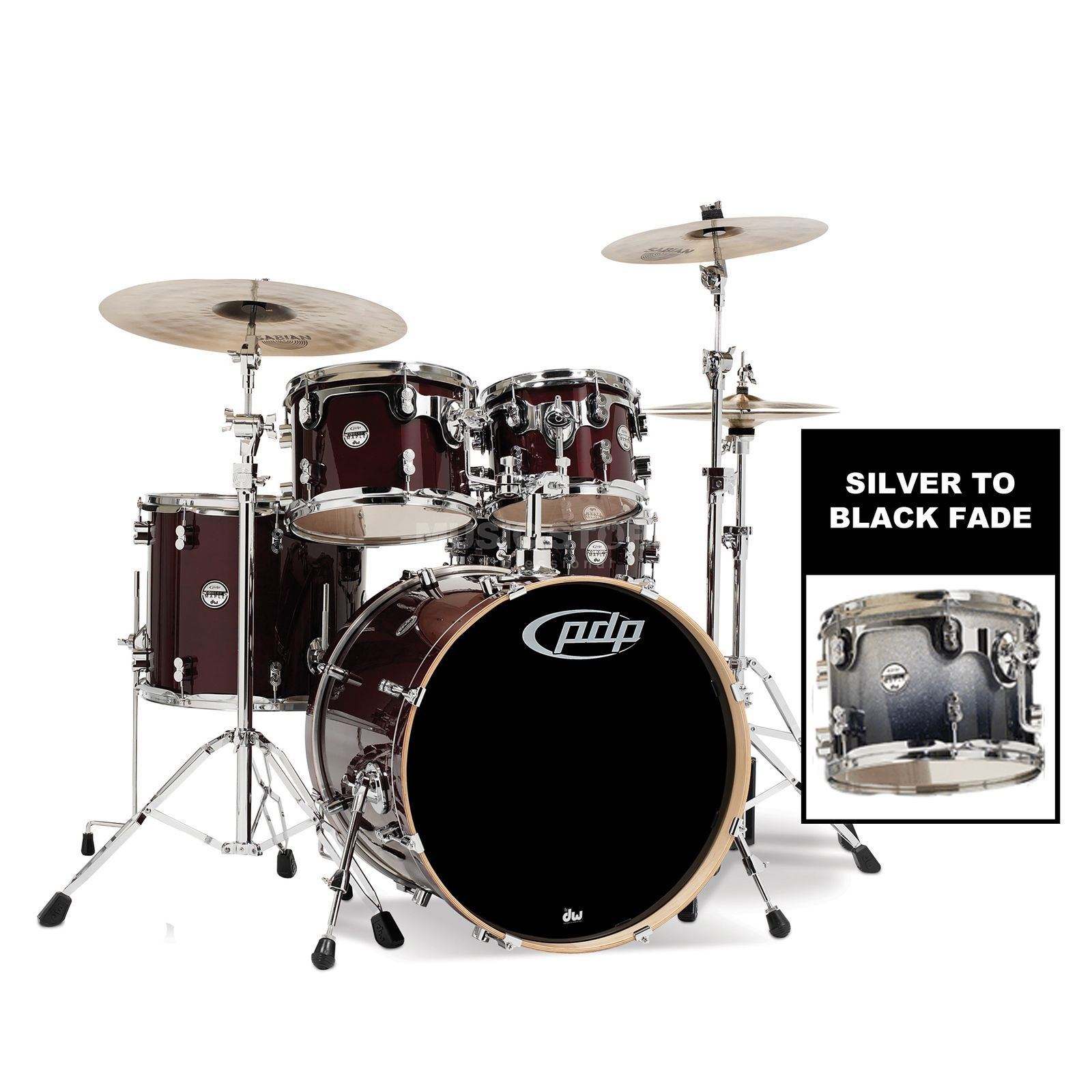 Drum Workshop PDP Concept Maple Studio CM5, Silver to Black Fade Produktbild