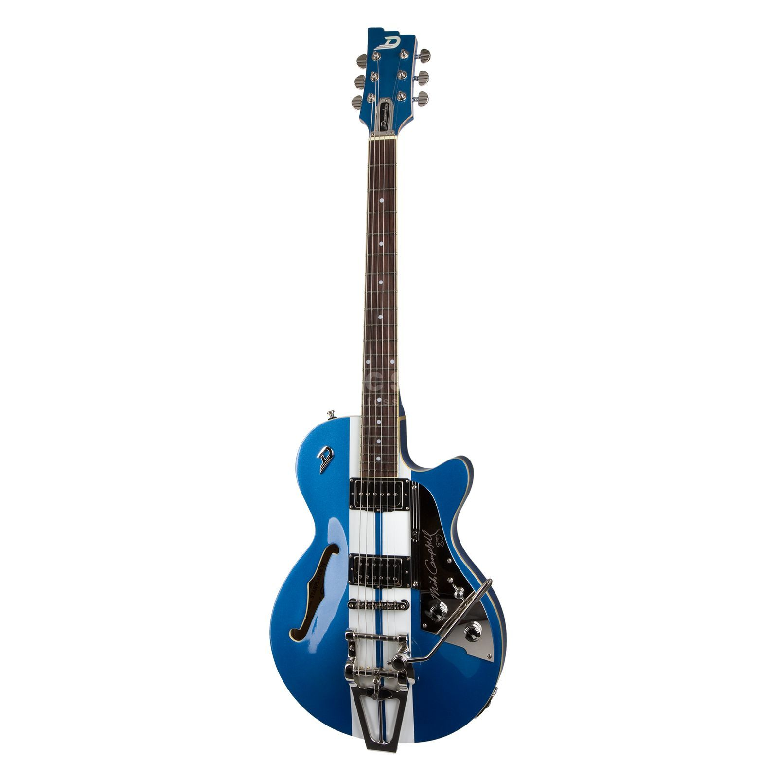 Duesenberg Starplayer TV Mike Campbell Blue Metallic / Ralley Stripes Produktbillede