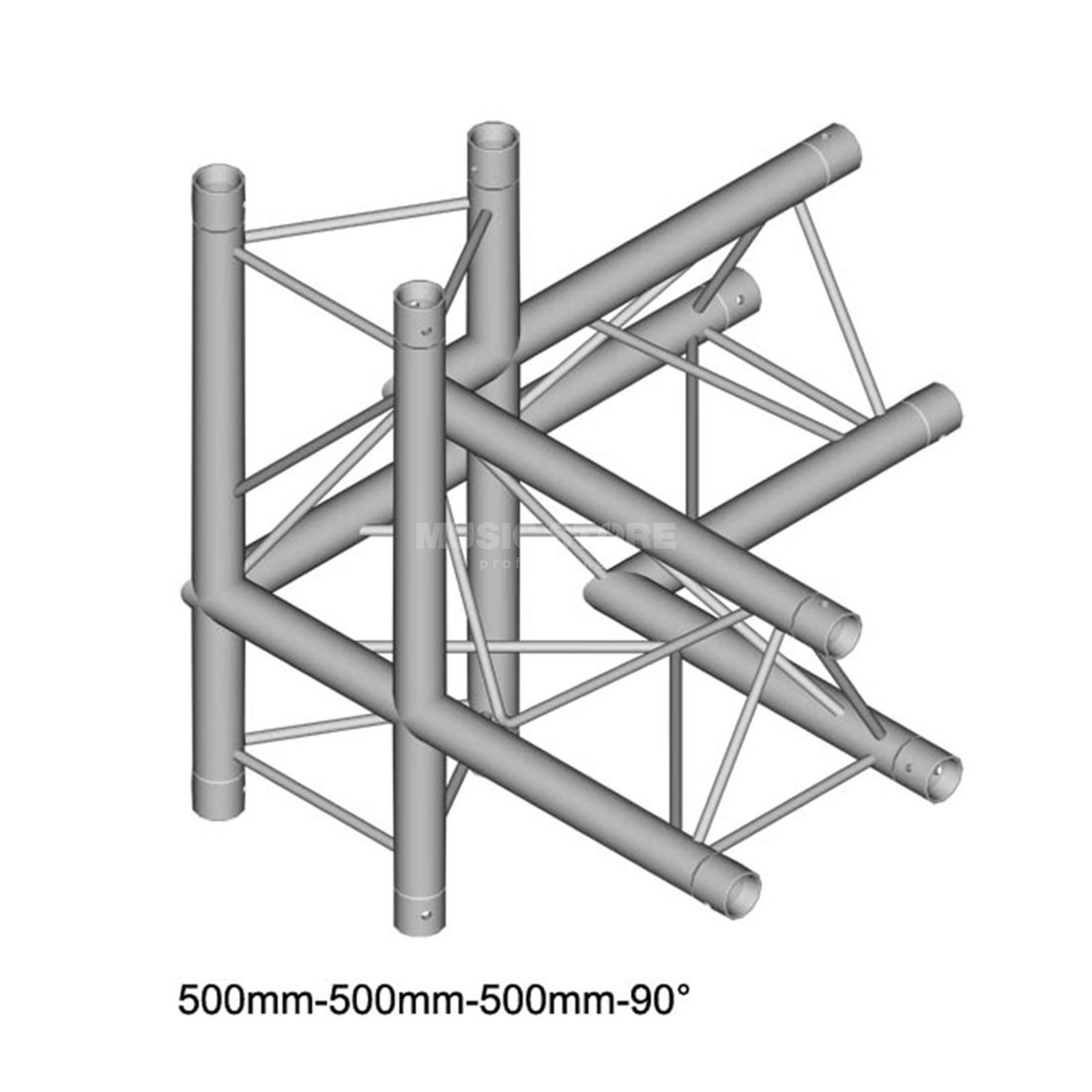DURATRUSS DT 23 C45-LUD, 3-Point Truss 90° Corner, 4-Way, left Produktbillede