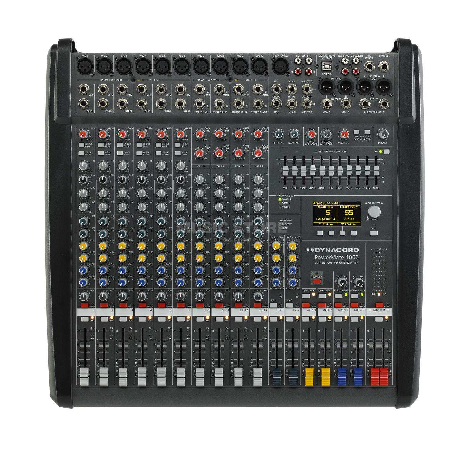 Dynacord powermate 1000 3 table de mixage amplifi e 2x 1000 w 4 ohms - Console de mixage amplifiee ...