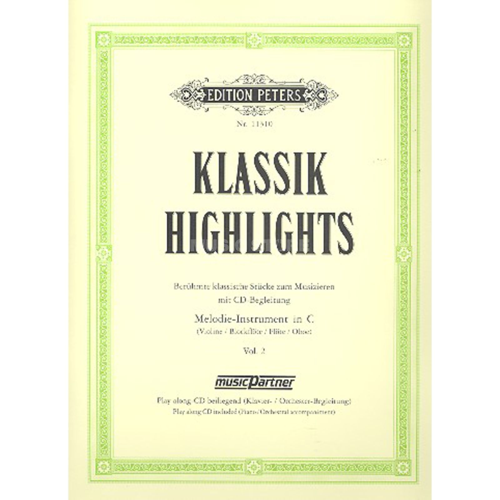 Edition Peters Klassik-Highlights 2 Blockflöte/Oboe, Buch/CD Produktbillede