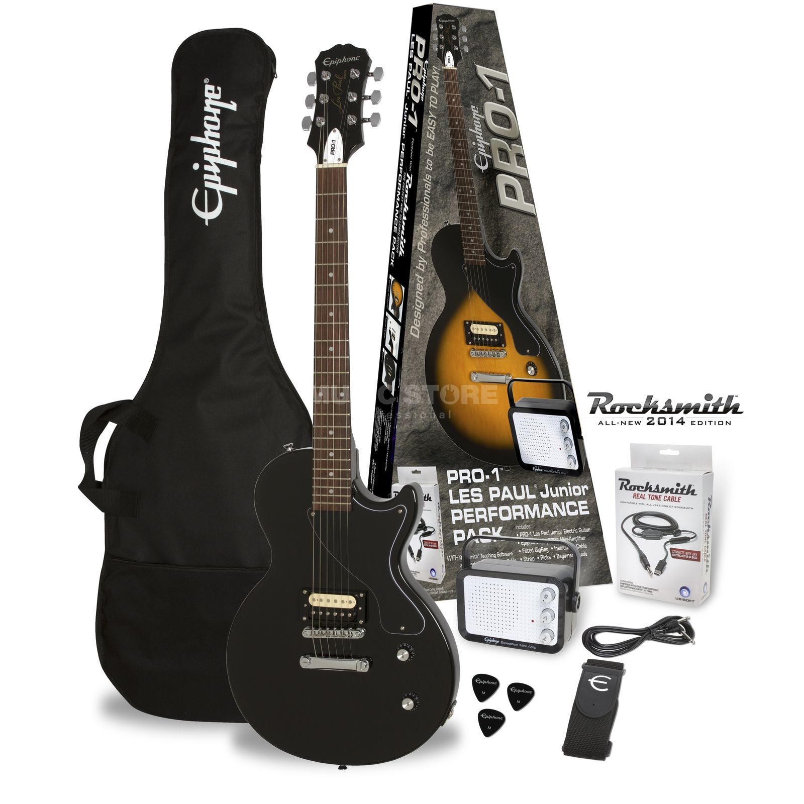 Epiphone PRO-1 Les Paul Junior Performance Pack Ebony Produktbillede