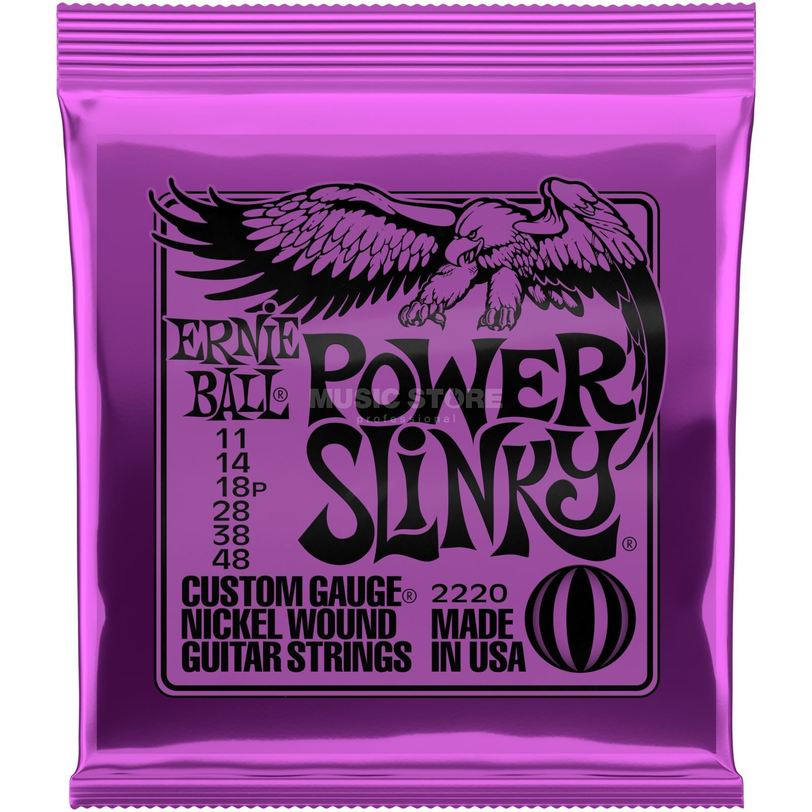 Ernie Ball Cordes guitare électrique, 11-48,Power Slinky, Nickel  Image du produit