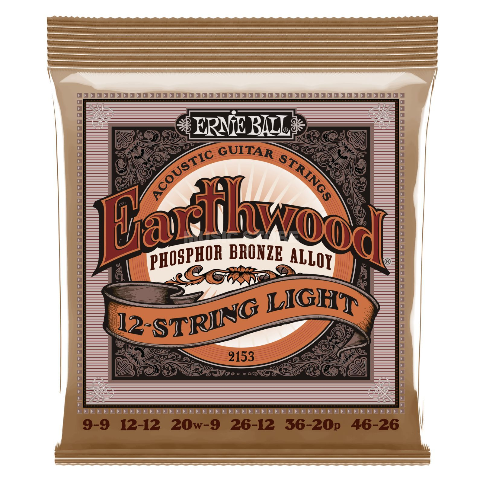 Ernie Ball EB2153 9-46 12-string Earthwood Phosphor Bronze Super Slinky Produktbillede