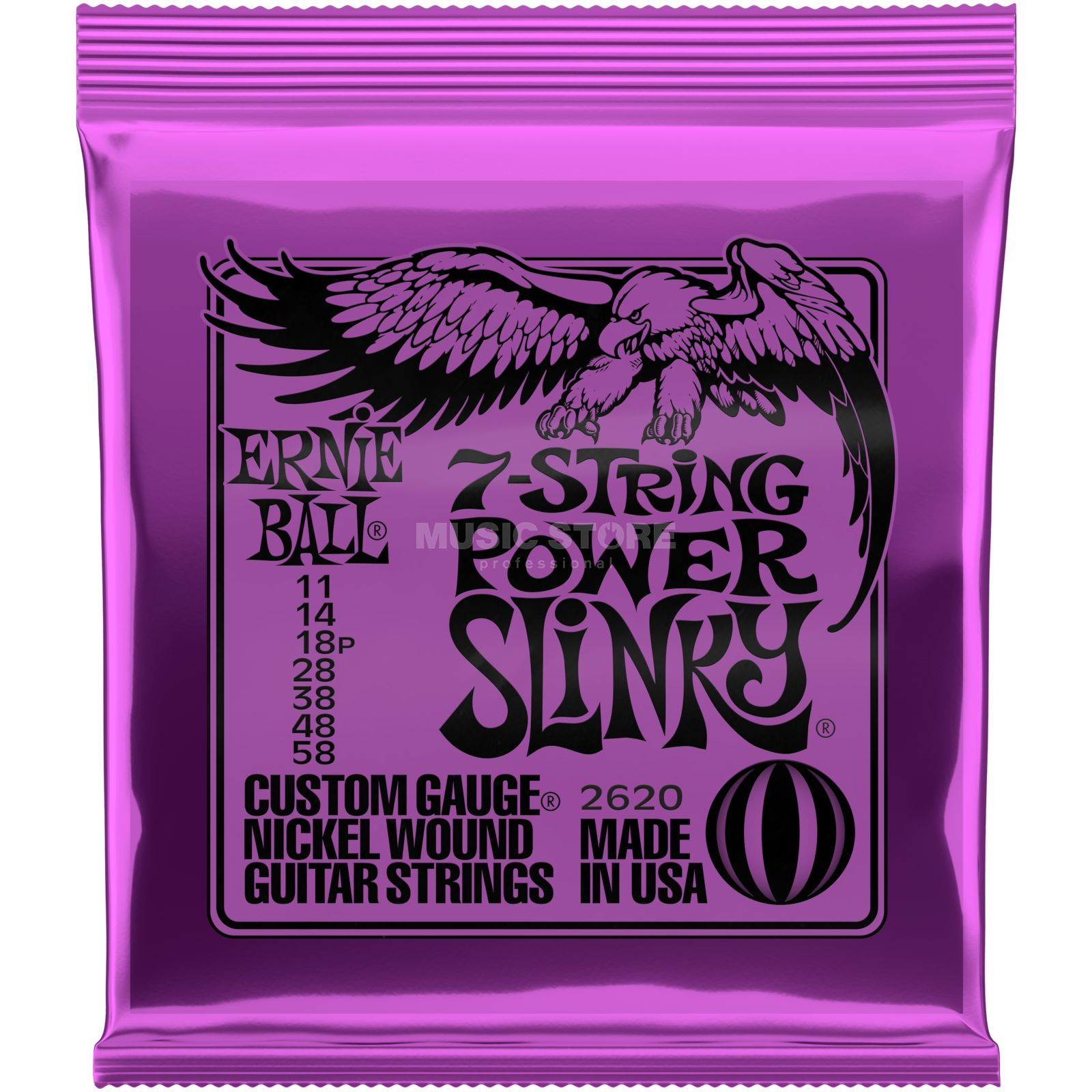 Ernie Ball EB2620 11-58 7-string Power Slinky Nickel Plated Produktbillede