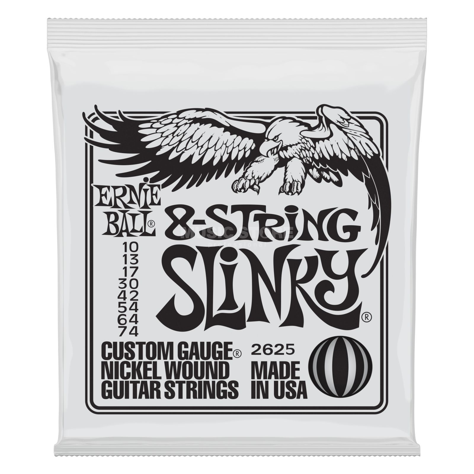Ernie Ball EB2625 10-74 8-string Super Slinky Nickel Plated Produktbillede