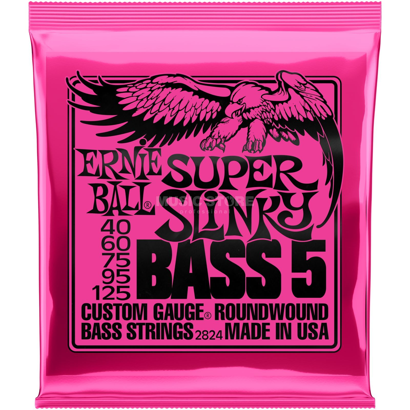 Ernie Ball EB2824 40-125 5-string Super Slinky nikkel Plated Productafbeelding