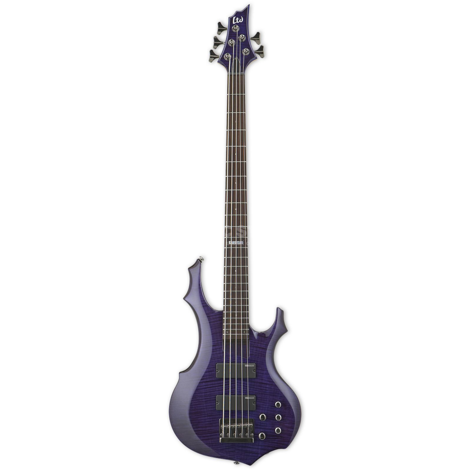 ESP LTD F-155DX Electric Bass Guit ar, Dark See Thru Purple   Product Image