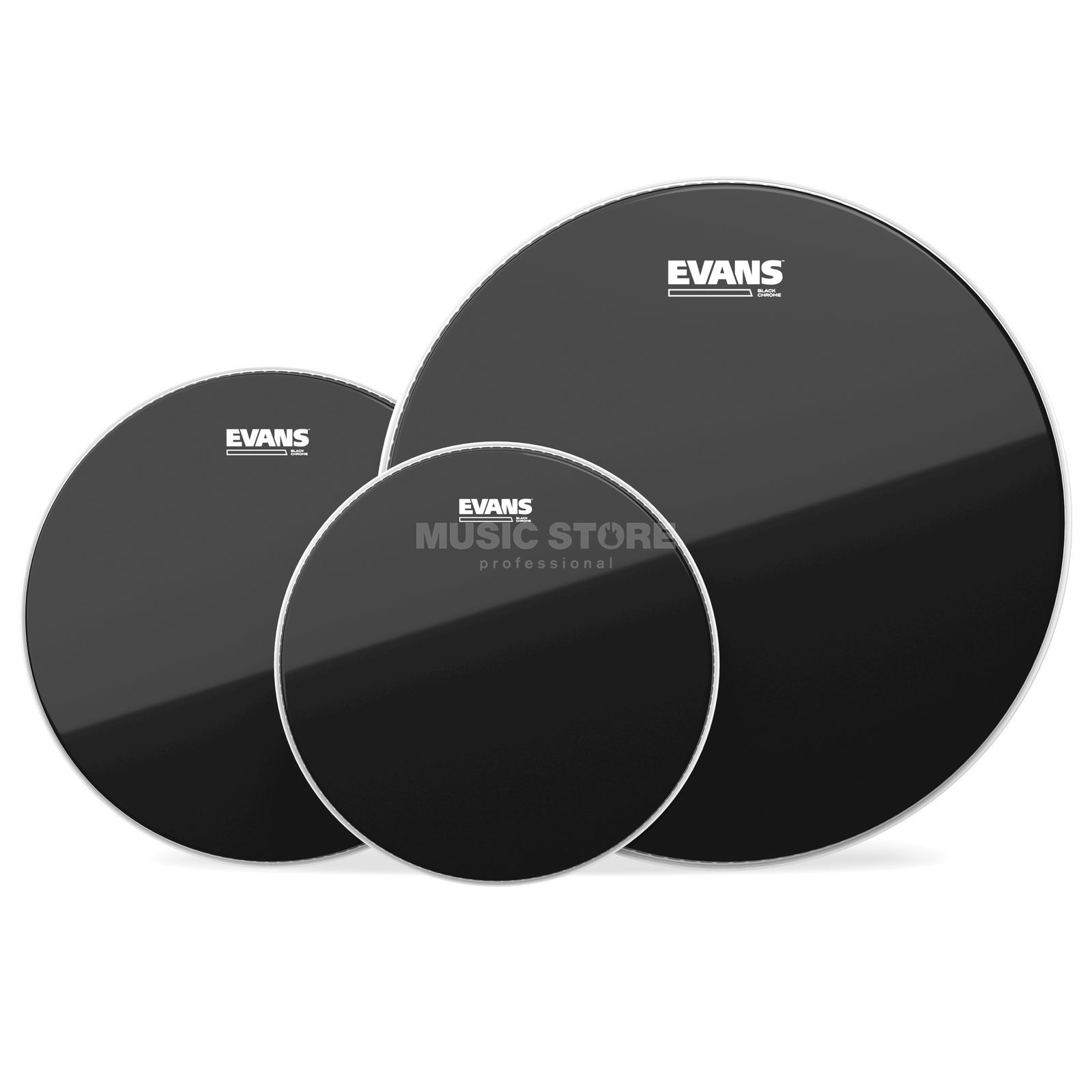 "Evans Drum Head Pack Black Chrome Fusion, 10"",12"",14"" Produktbillede"
