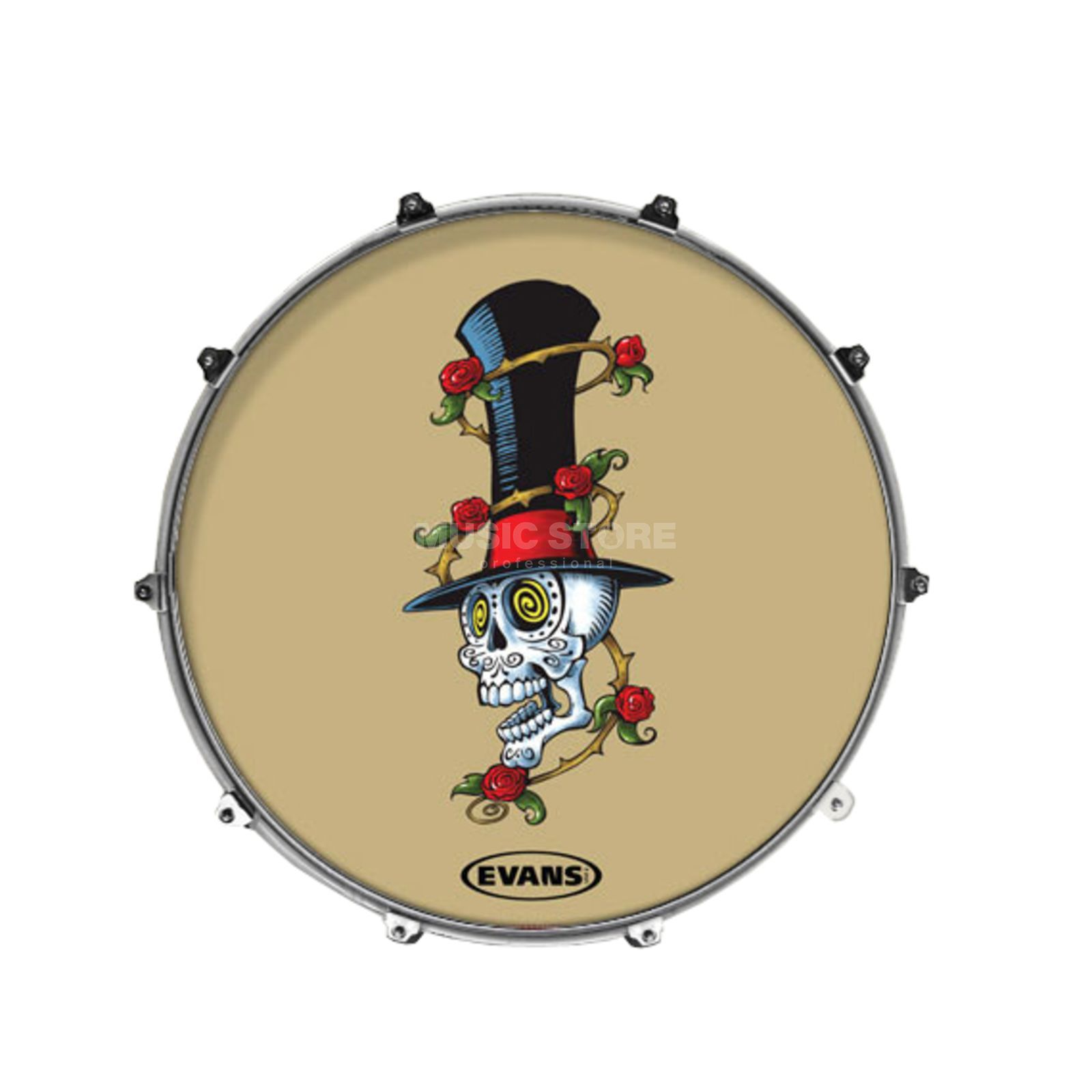 "Evans Inked basDrum Frontvel 22"", Hypno Skull Productafbeelding"