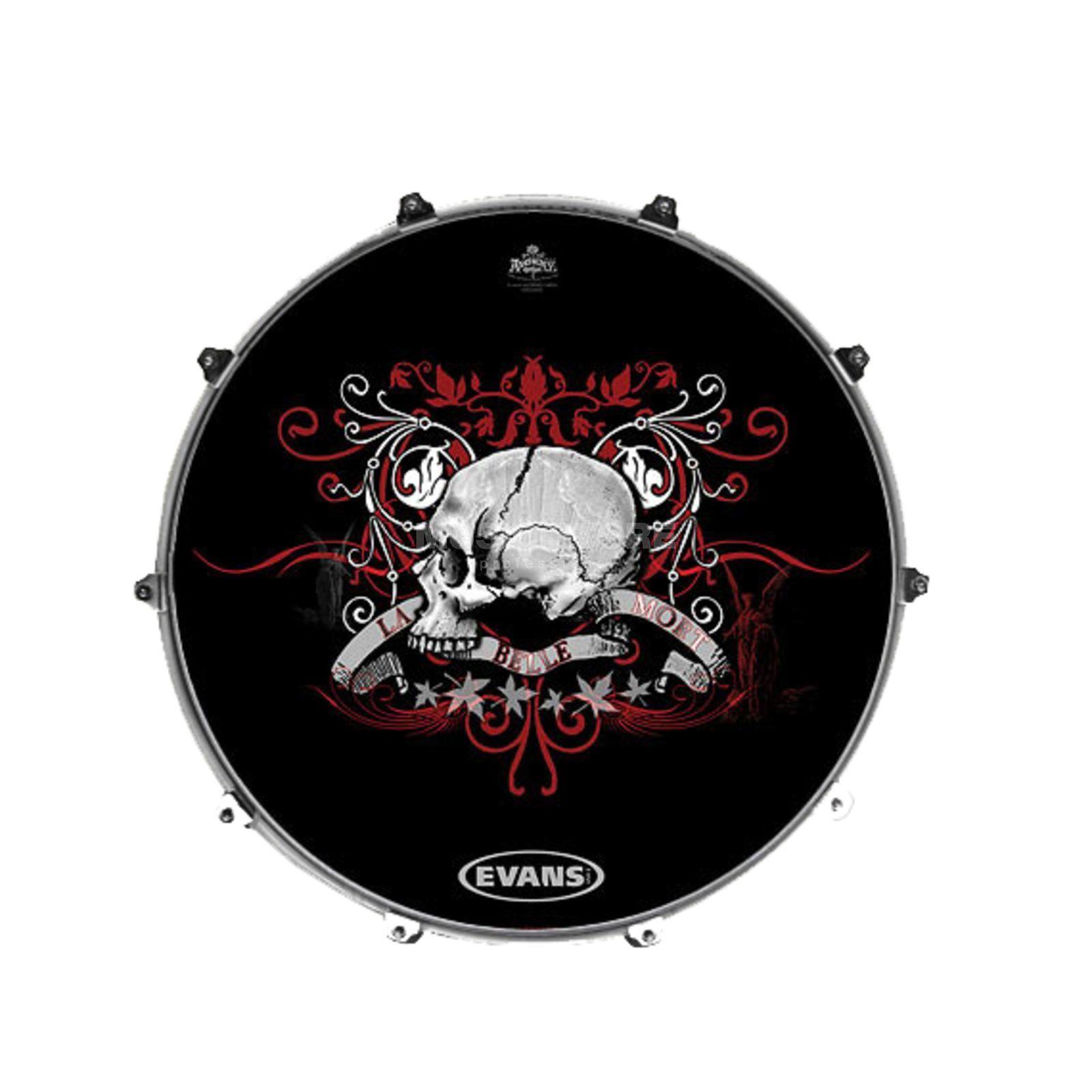 evans inked bass drum front head la belle morte 22. Black Bedroom Furniture Sets. Home Design Ideas