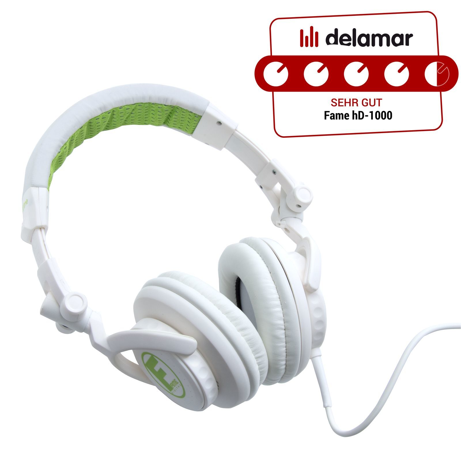 Fame audio hD-1000 Lime DJ Headphones White And Lime, 3m Cable Изображение товара