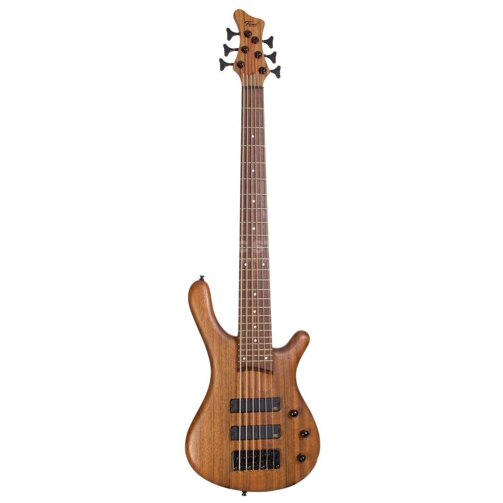 Fame Baphomet 6 NT 6-String E-Bass Guitar, Natural Oil Finish Produktbillede