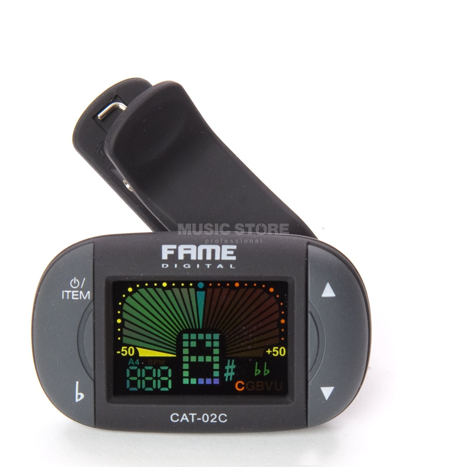 Fame CAT-02C Clip-On Guitar Tuner Selectable Chromatic Tuning Produktbillede