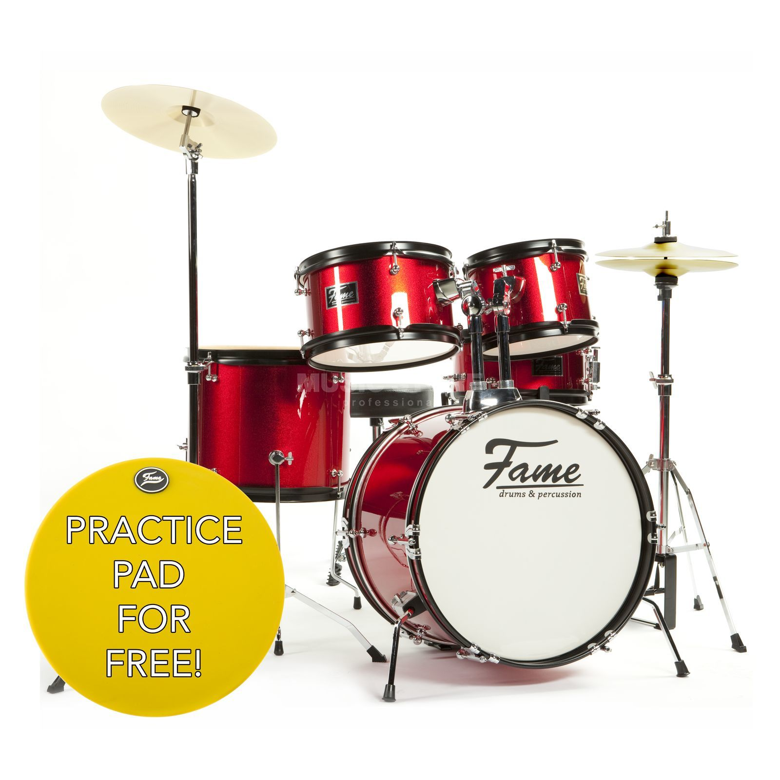 "Fame Kiddyset 5 PC Junior Drumset ""Elias"" Schlagzeug #Red Produktbild"