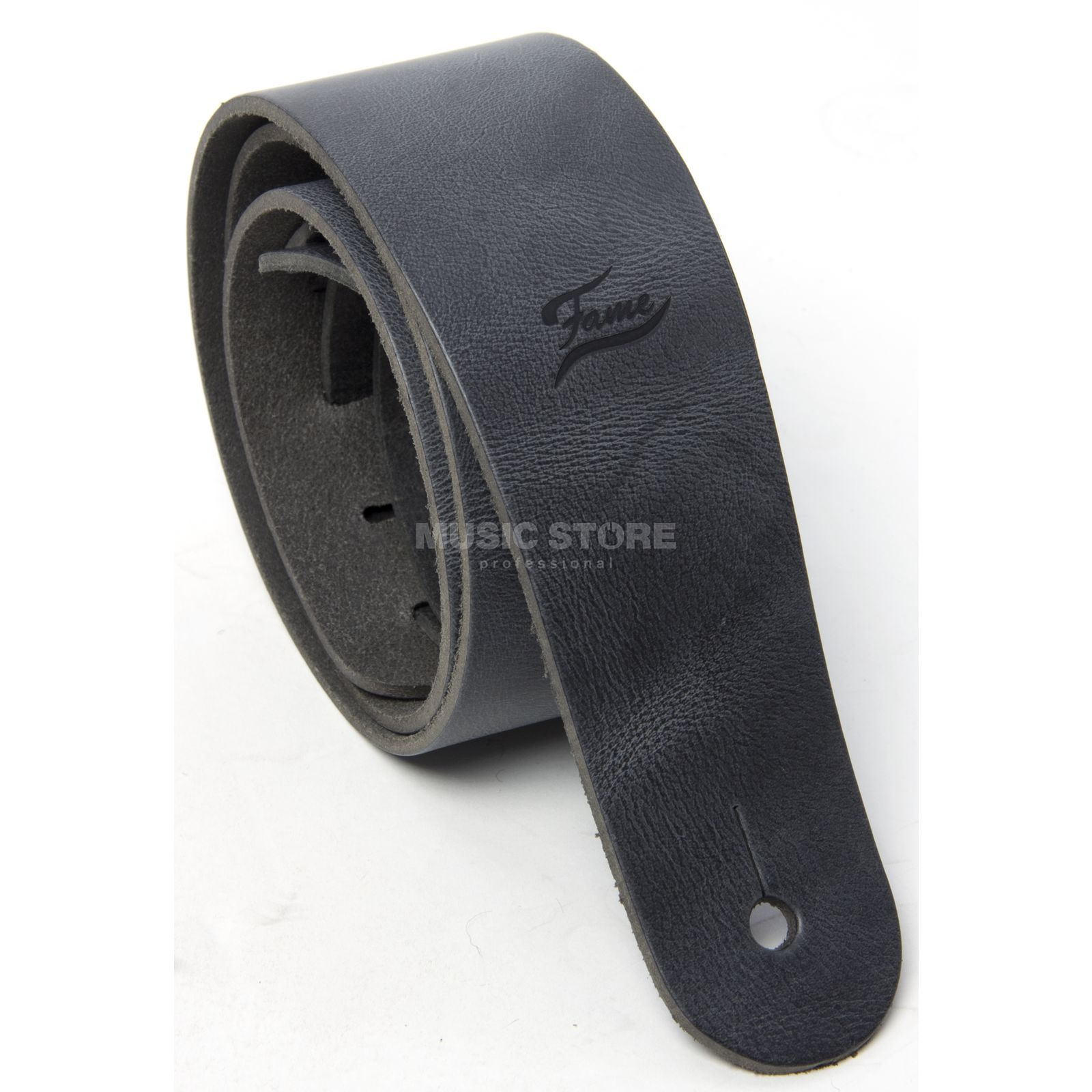 Fame Leather Guitar Strap Raw II BK Black Produktbillede