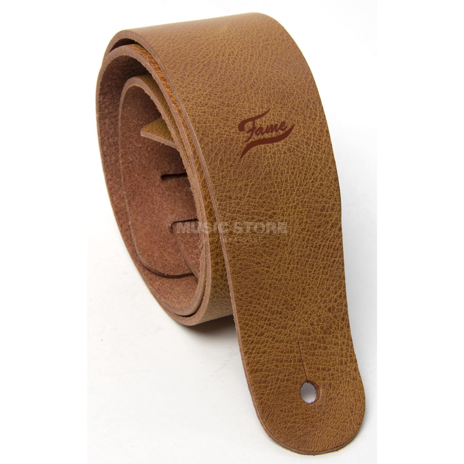 Fame Leather Guitar Strap Raw II CO Cognac Produktbild