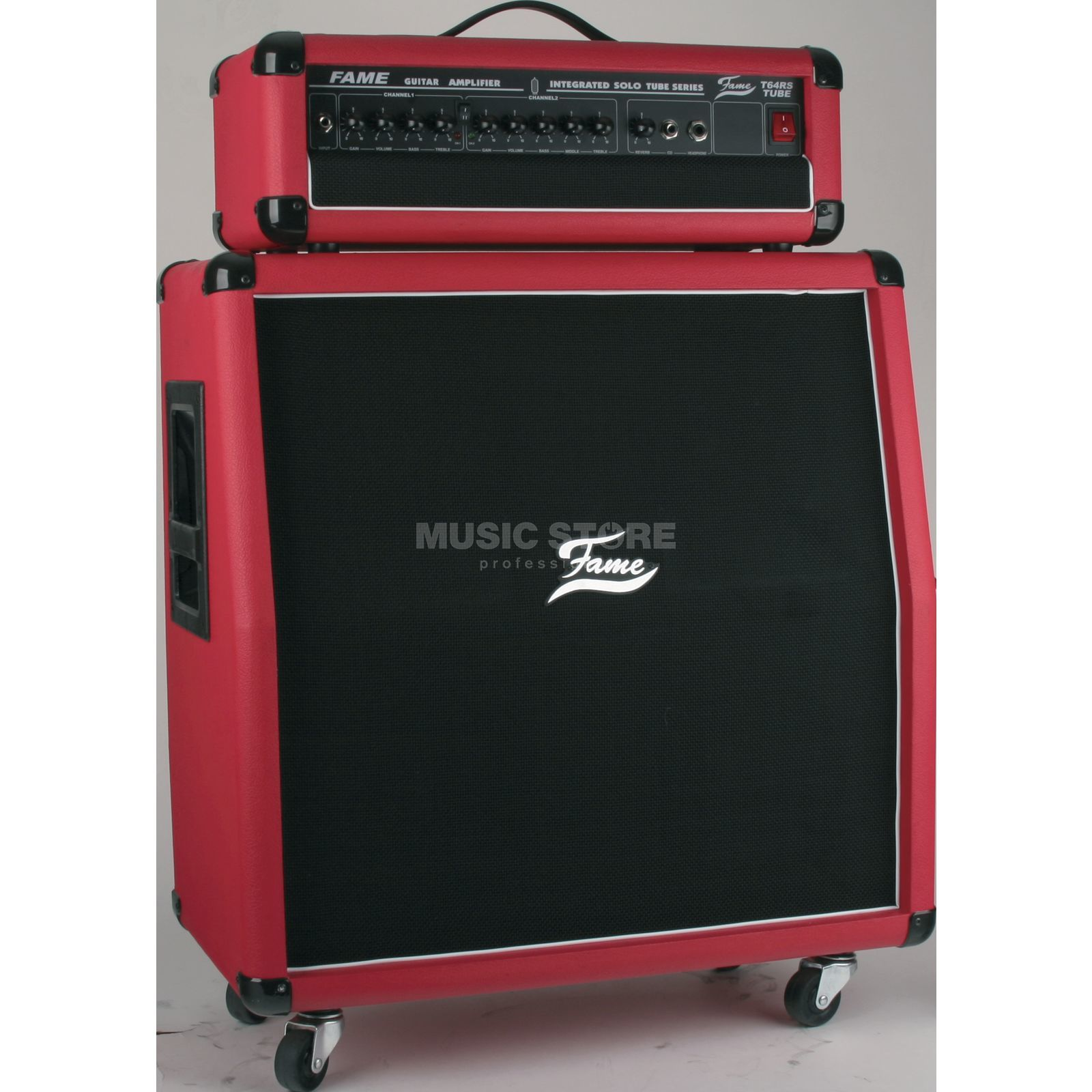 "Fame T 64 RS Red 60 WattTop + 4x8""B 2-Ch., Tube Amplifier,CD-Input Produktbillede"