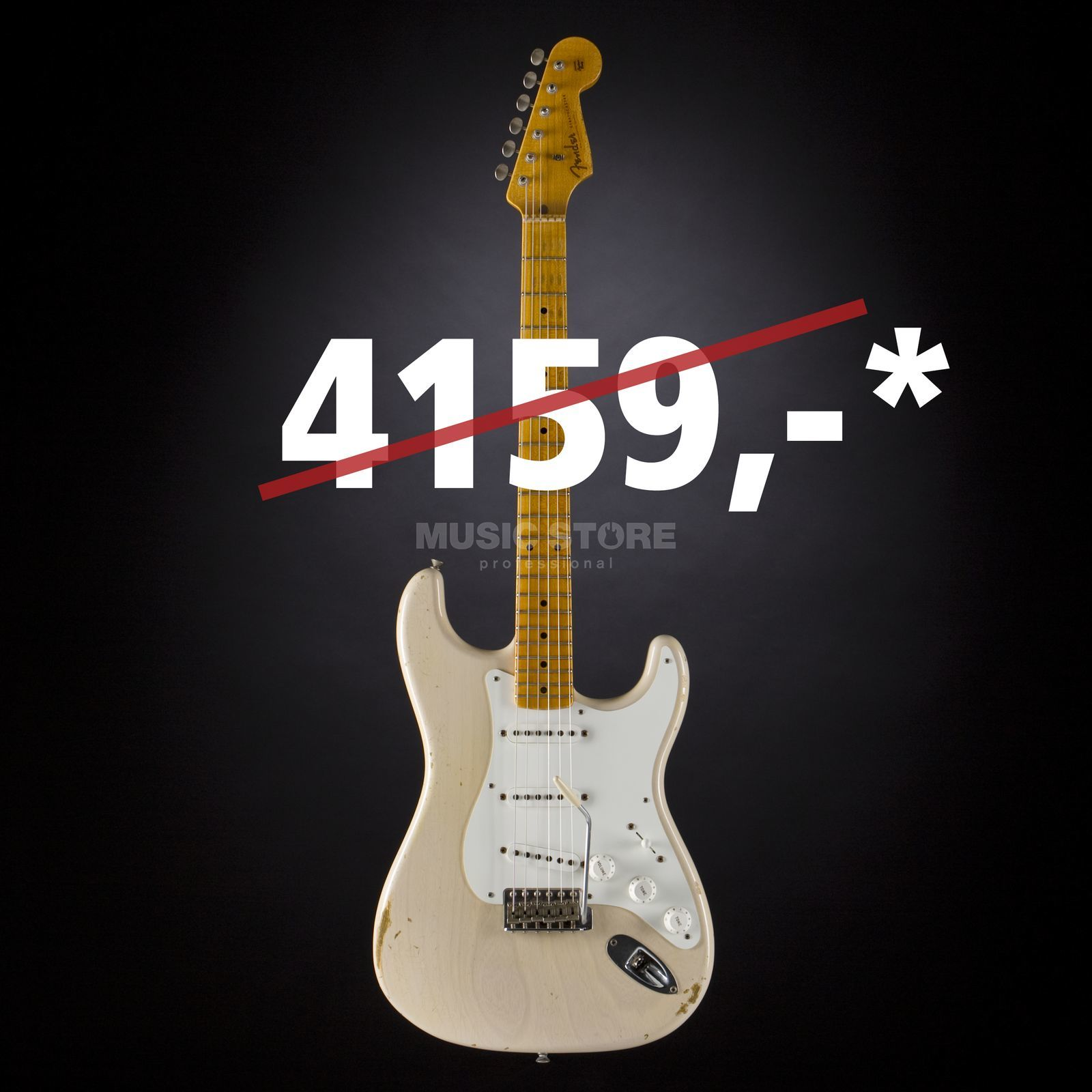 Fender 1955 Relic Stratocaster Dirty White Blonde #CZ520104 Produktbillede