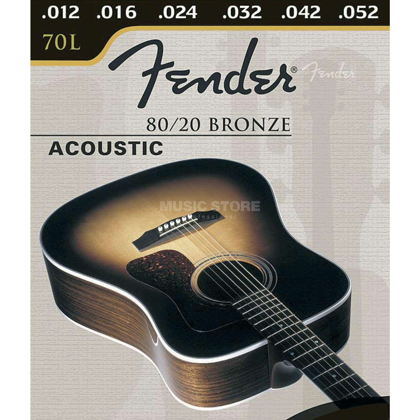 Fender 80/20 Bronze 12-String 70-12 L Bronze Wound, Ball End Produktbillede