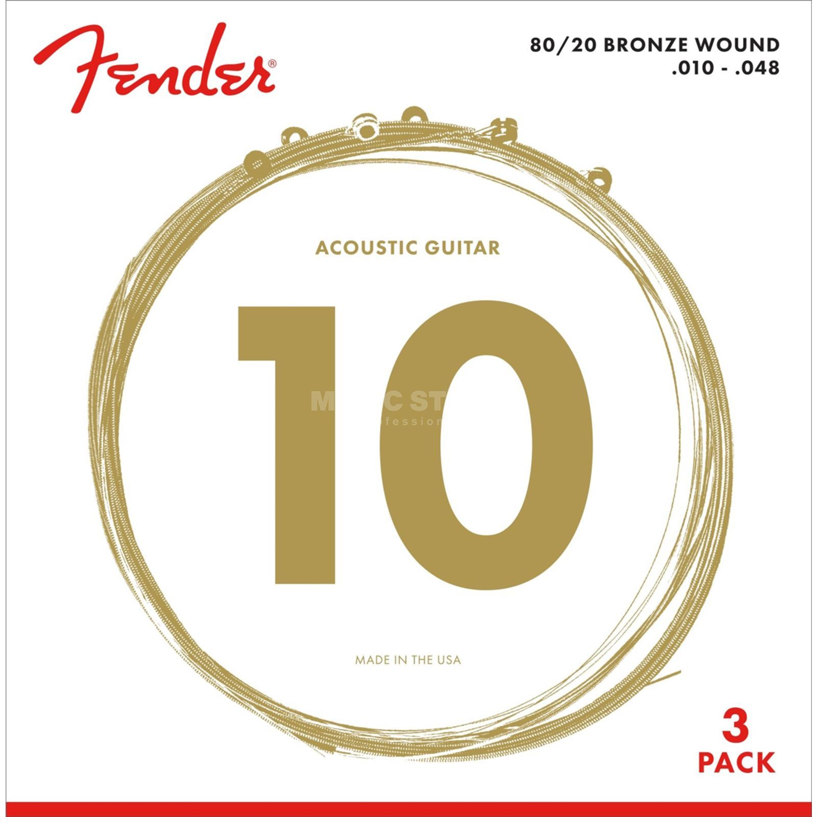 Fender A-Git. Saiten 70XL 10-48 3-Pack 80/20 Bronze Product Image