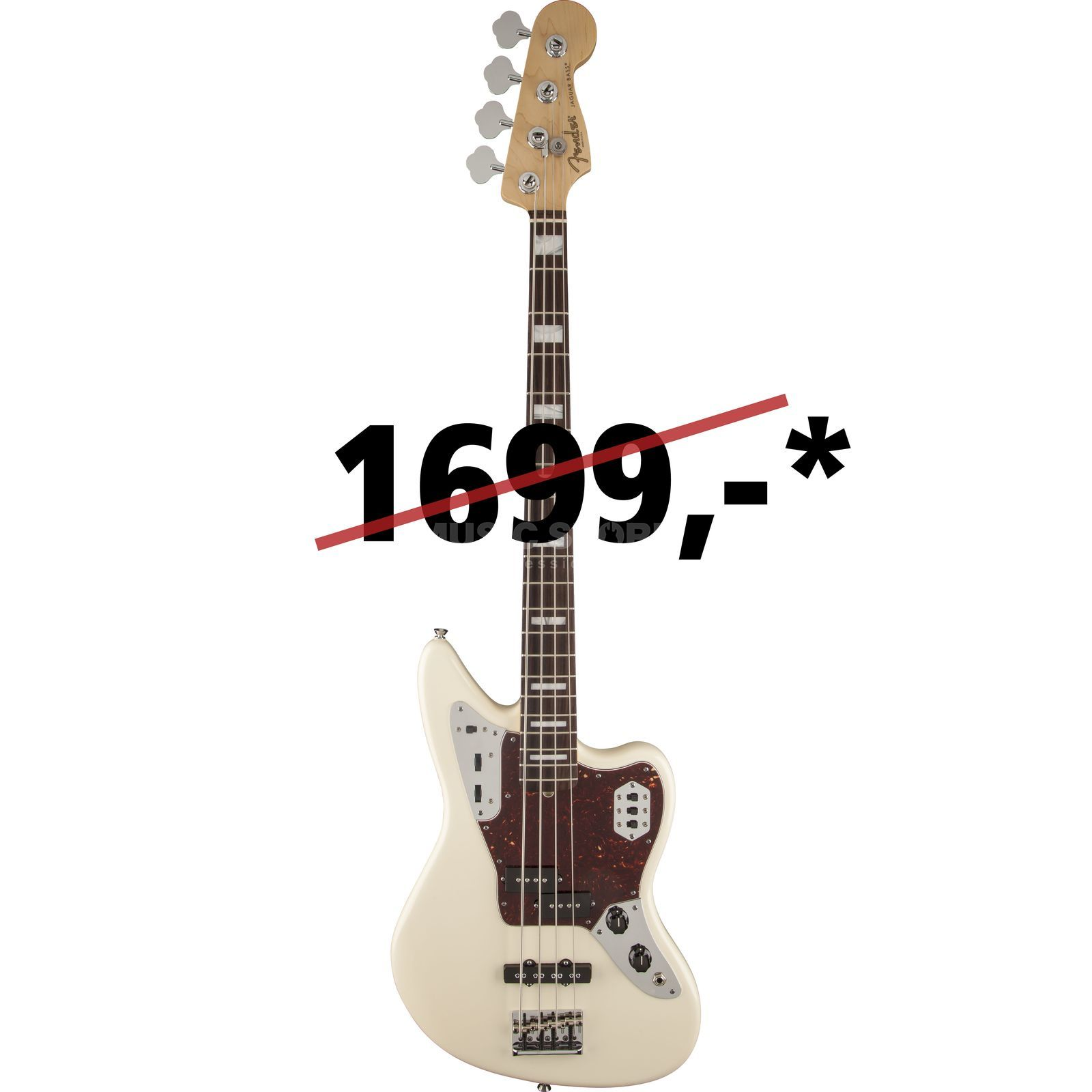 Fender Am. uren Jaguar bas RW OWH Olympic wit Productafbeelding