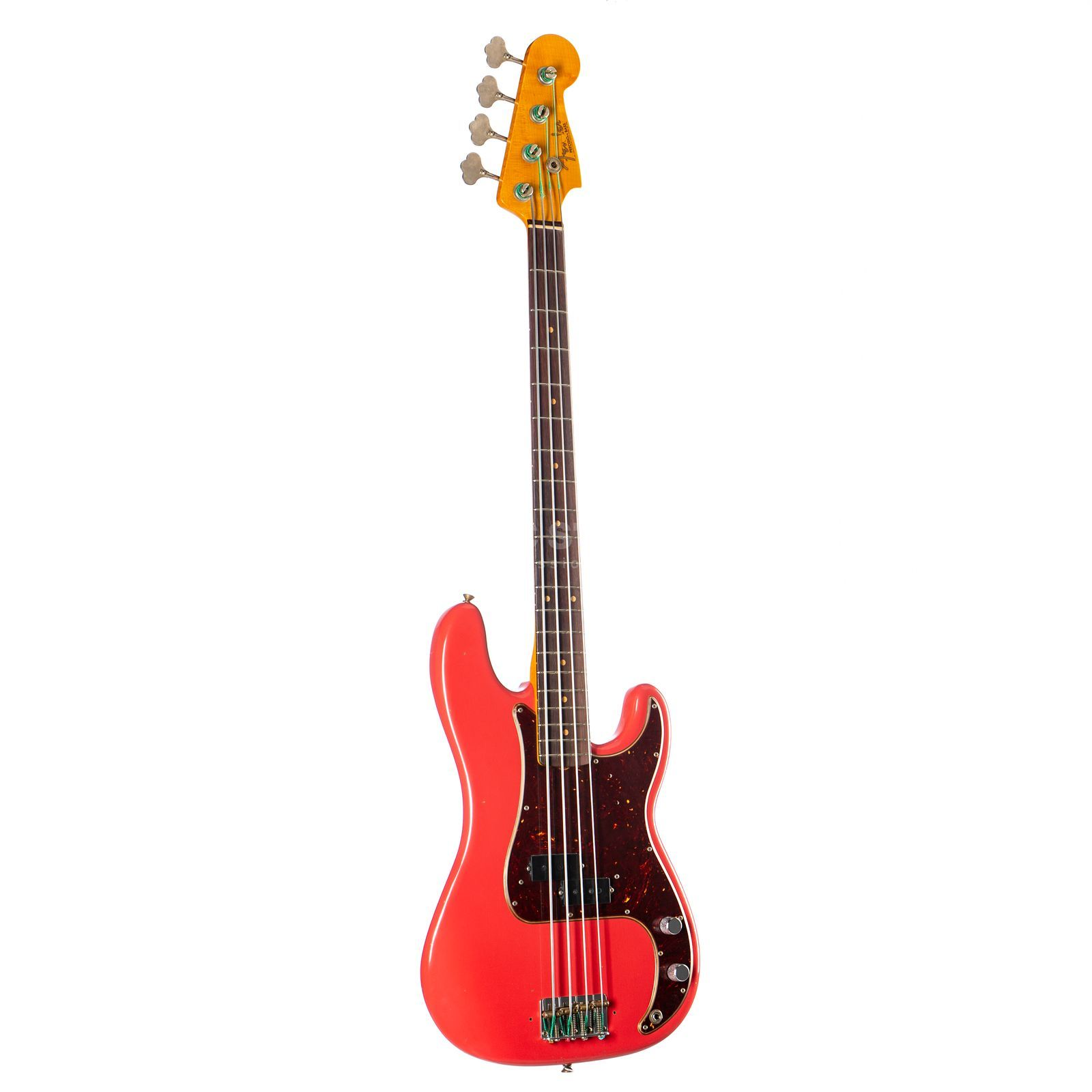 Fender CA Pino Palladino P-Bass RW FR Fiesta Red, Brown Tolex Case Product Image