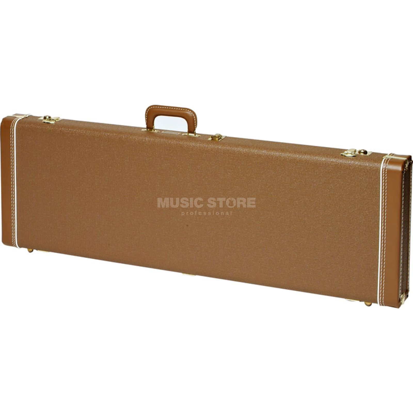 Fender case MultiFit Hardshell J-bas Brown with goud Plush Productafbeelding