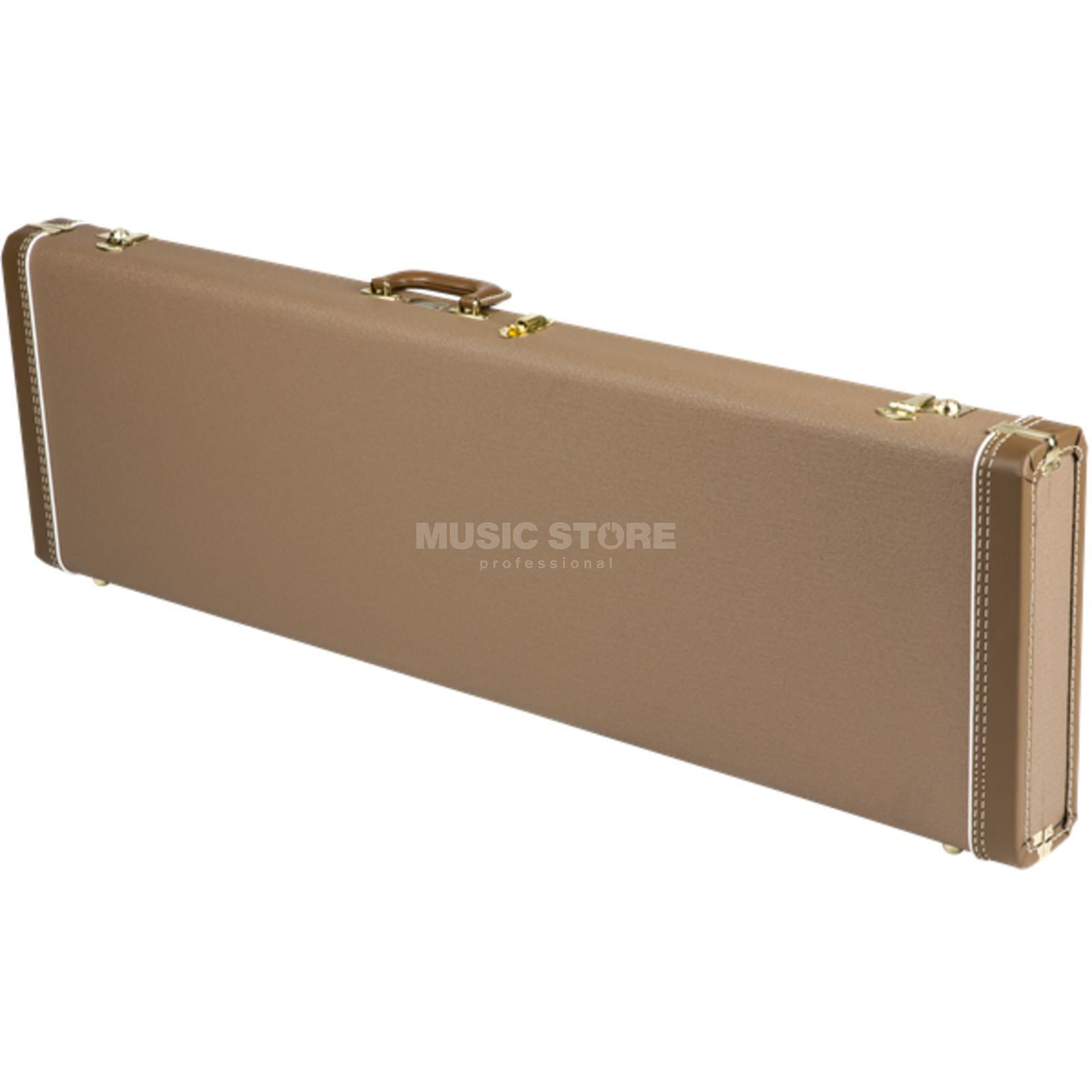 Fender case MultiFit Hardshell P-bas Brown with goud Plush Productafbeelding