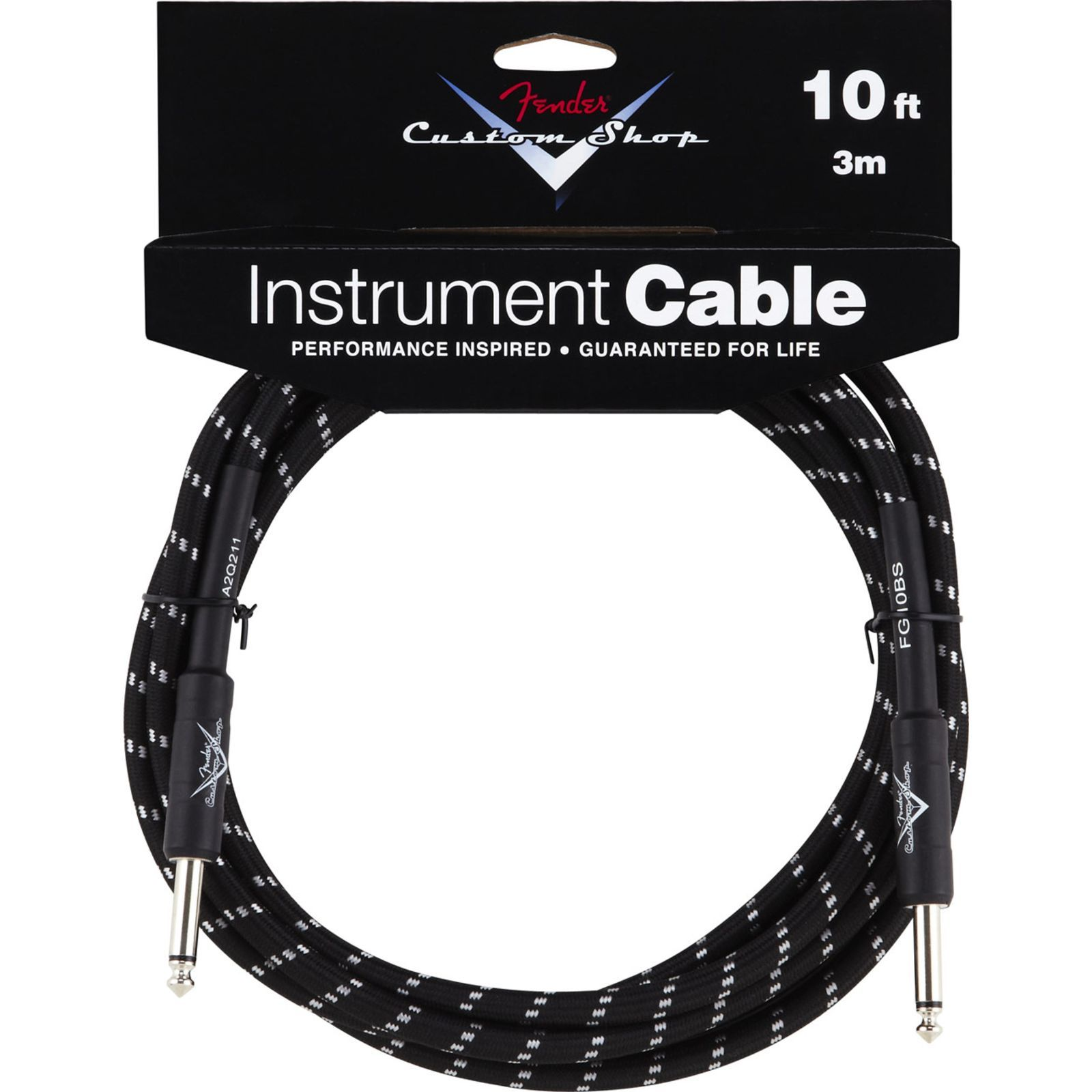 Fender Custom Shop Cable 3m BTW Black Tweed, Kli/Kli Produktbillede