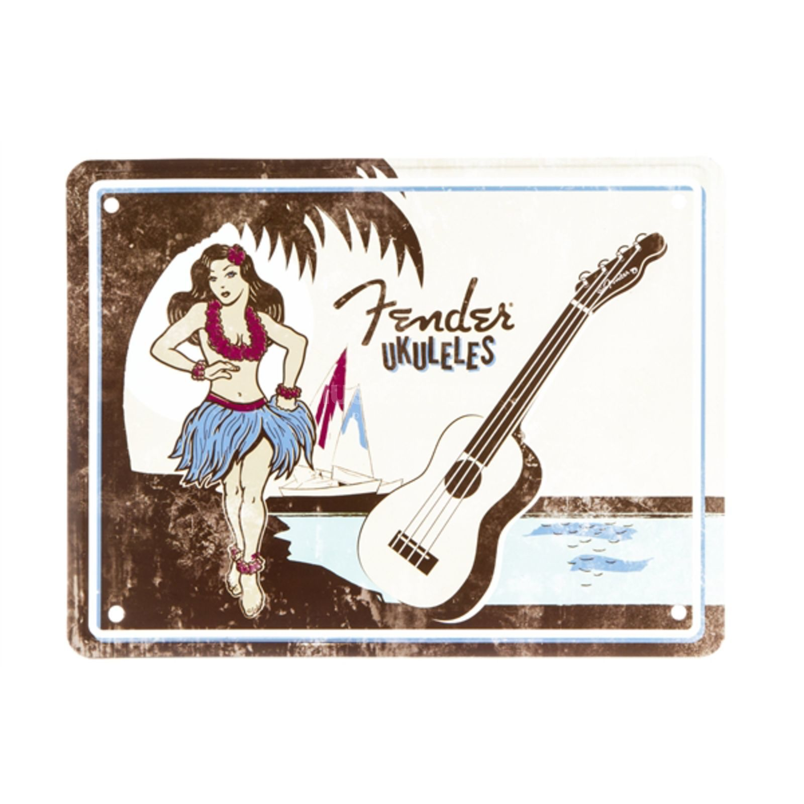 Fender Hula Girl Tin Sign Blechschild Produktbild