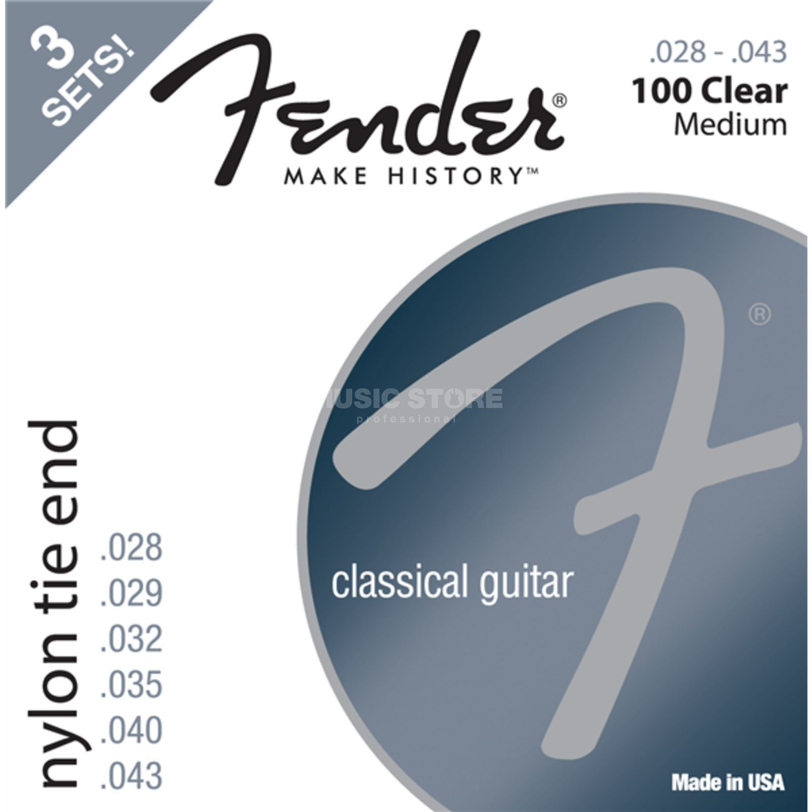 Fender Nylon Saiten 100 3-Pack Clear, Tie End Product Image