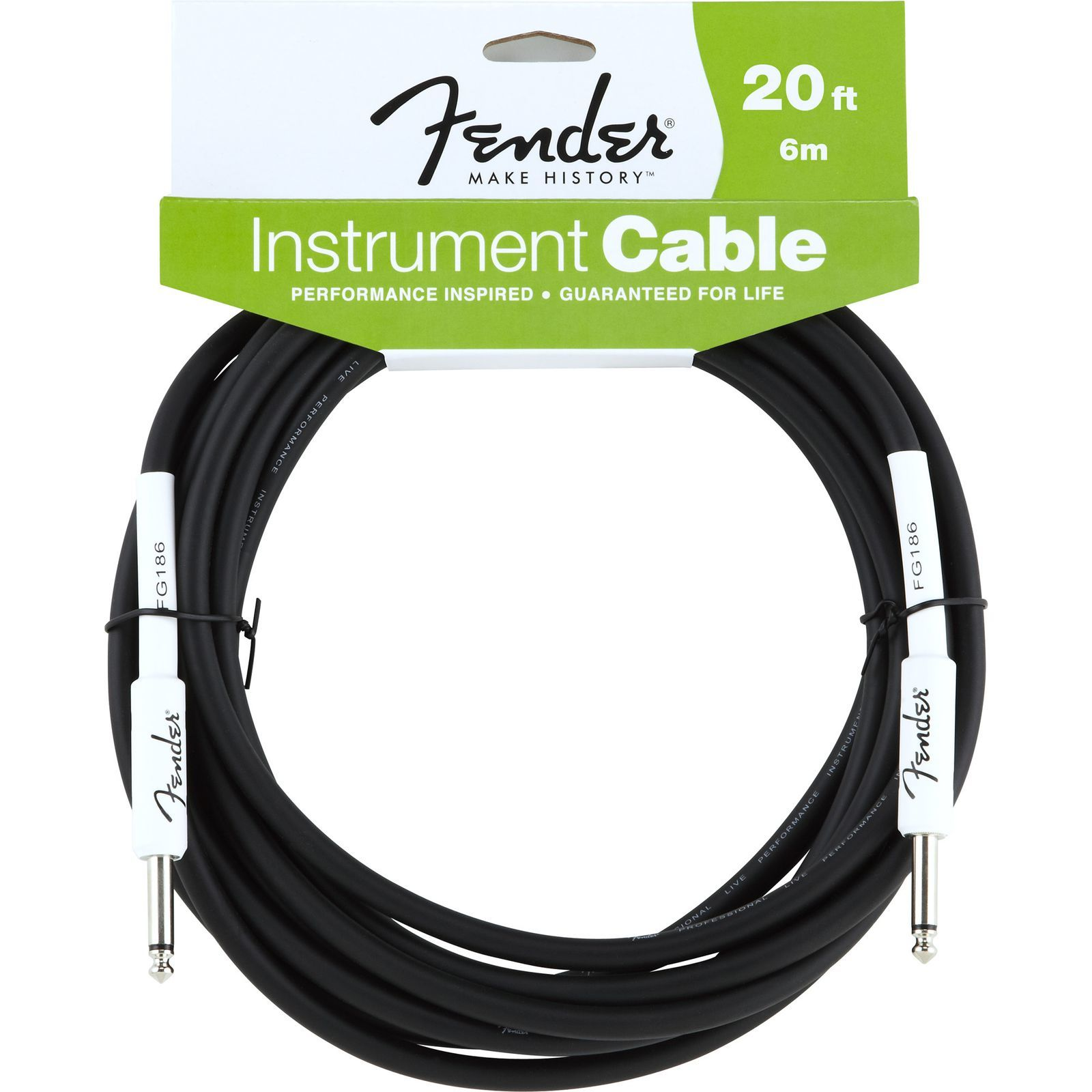 Fender Performance Cable 6m BLK Black, Kli/Kli Produktbild