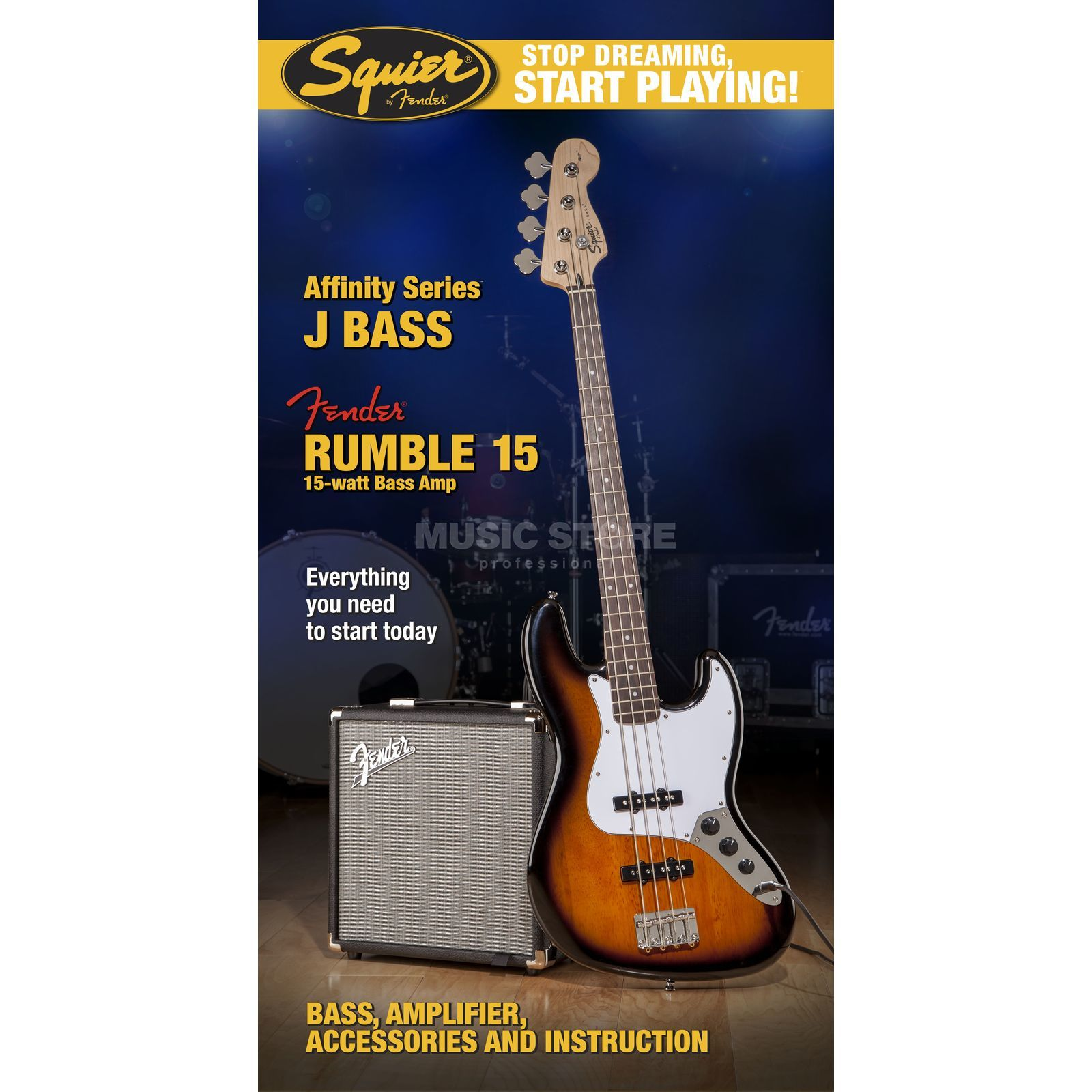 Fender Squier Affinity Series Jazz Bass Pack Brown Sunburst w/ Fender Rumble 15 Produktbild