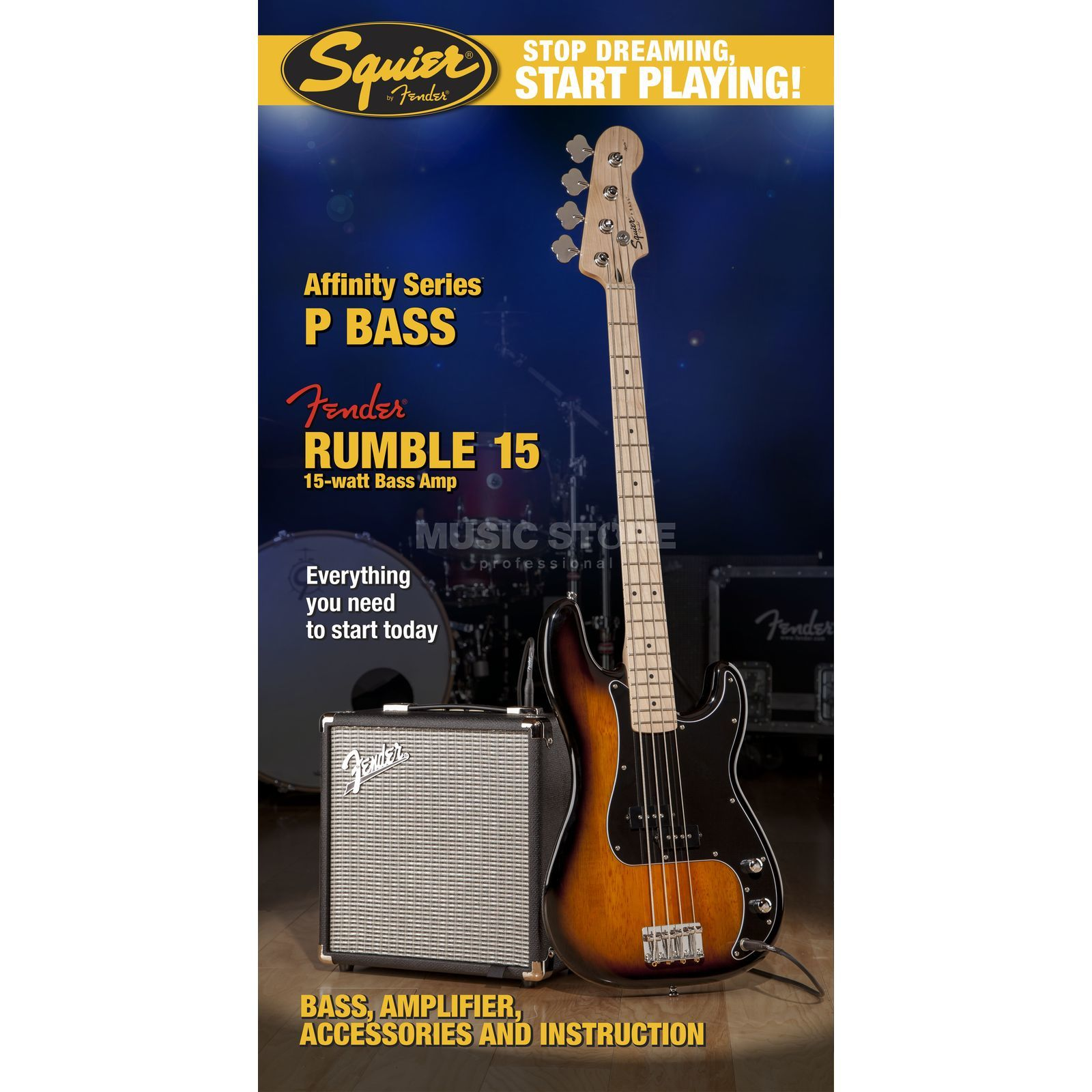 Fender Squier Affinity Series Precision Bass Pack Brown Sunburst w/ Fender Rumble 15 Productafbeelding