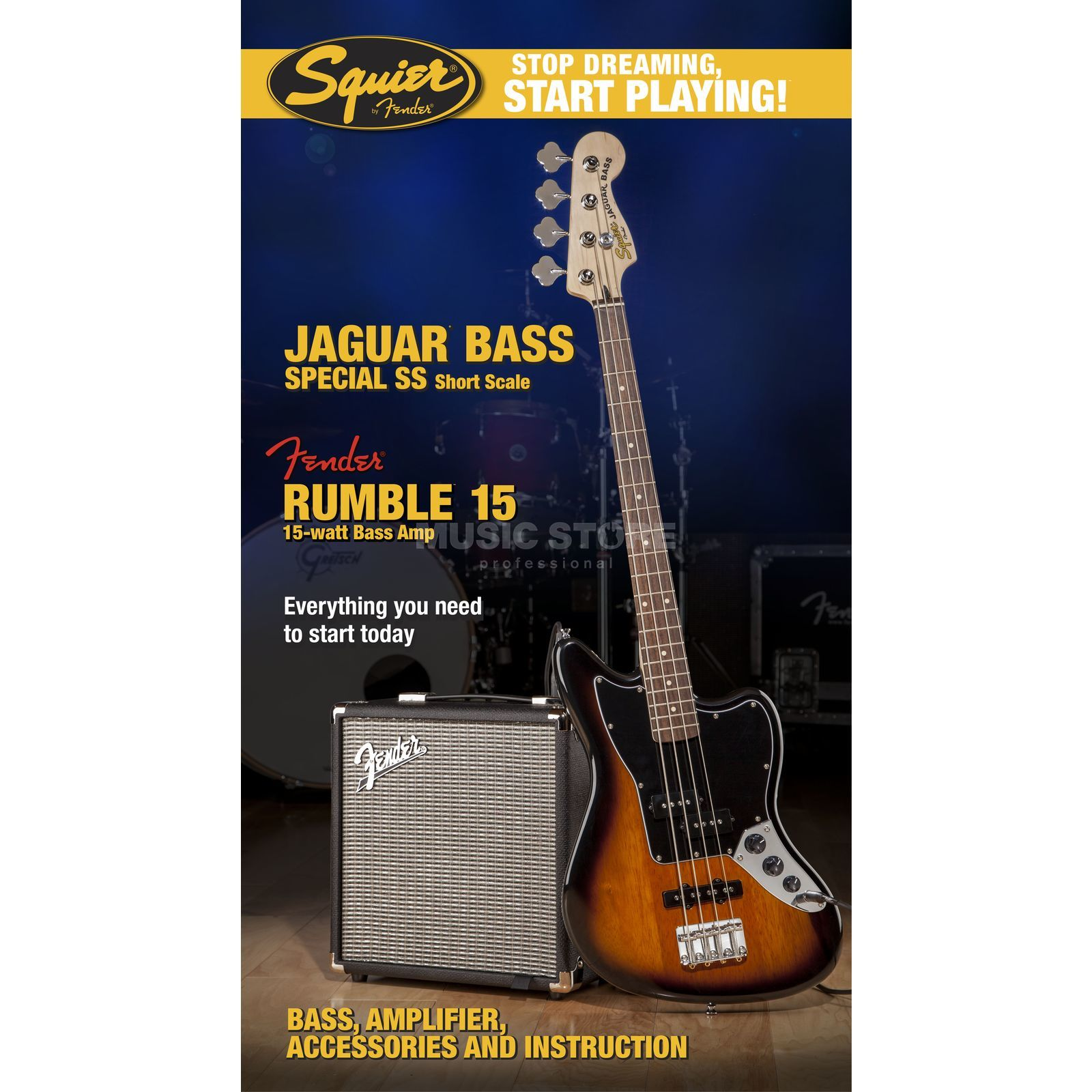 Fender Squier Pack Jaguar Special + Rumble15 Shortscale Brown Sunburst Image du produit