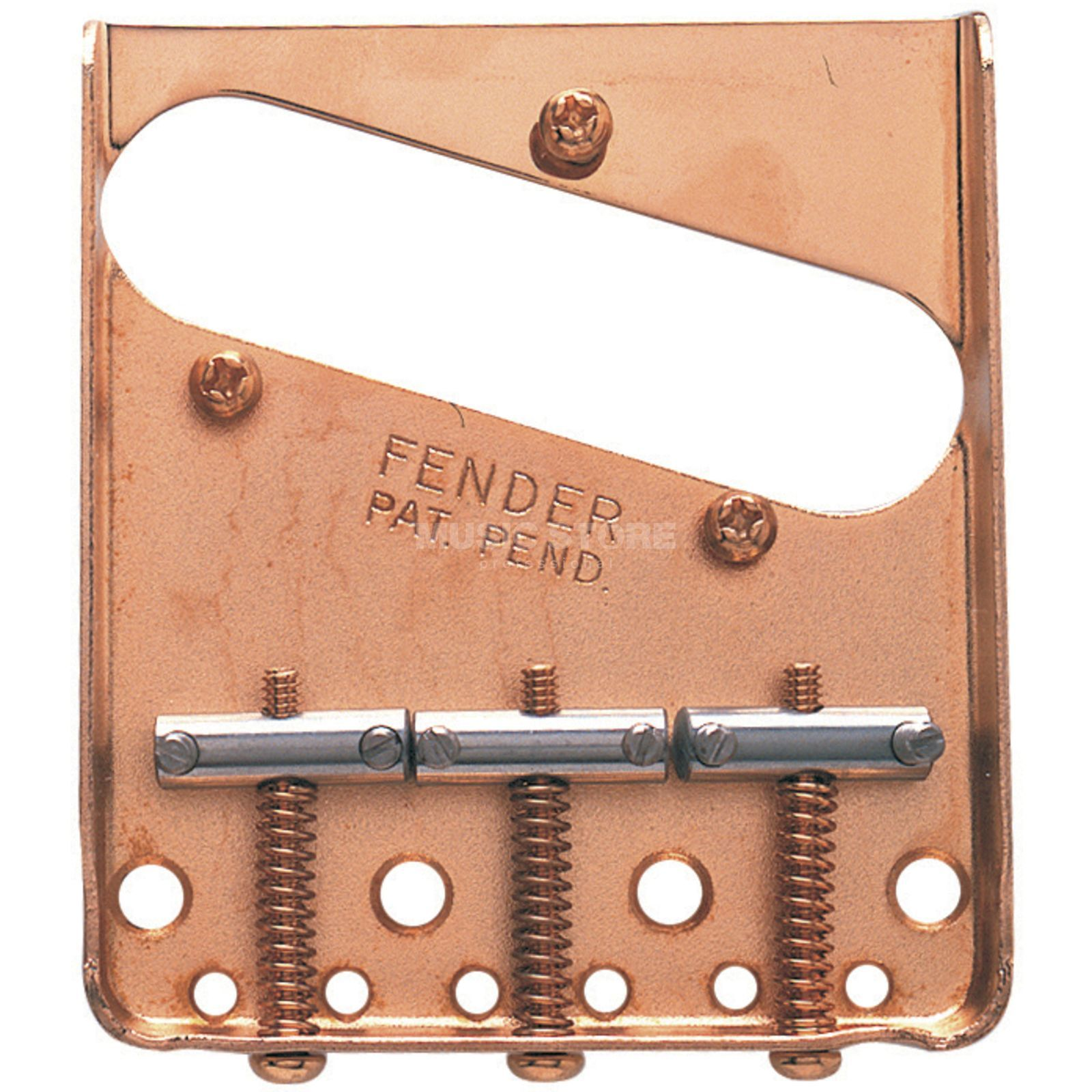 Fender Tele Bridge Set Vintage Gold, 3 Chrom-Reiter Produktbillede